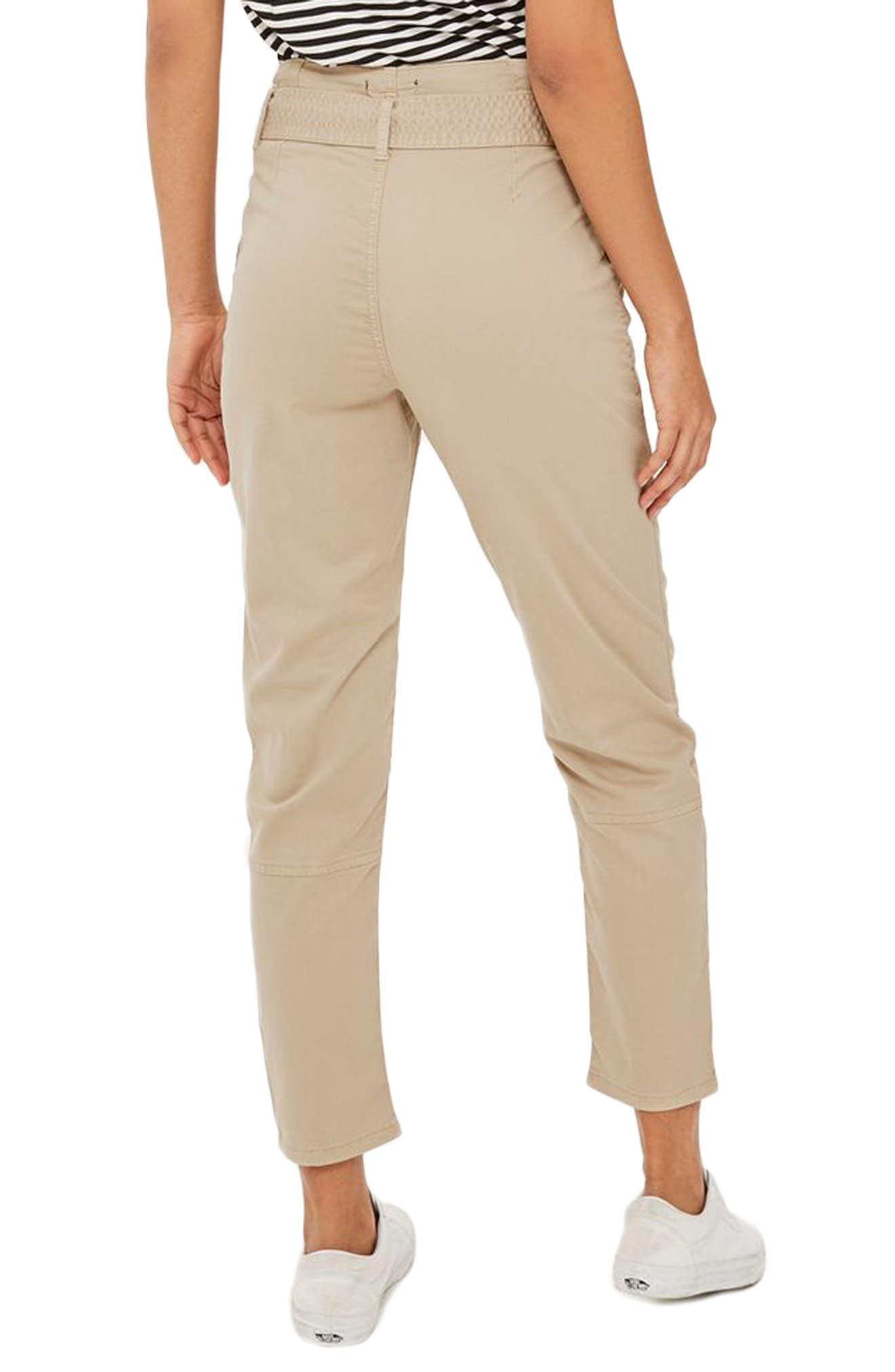 Paperbag Peg Trousers,                             Alternate thumbnail 3, color,                             Stone