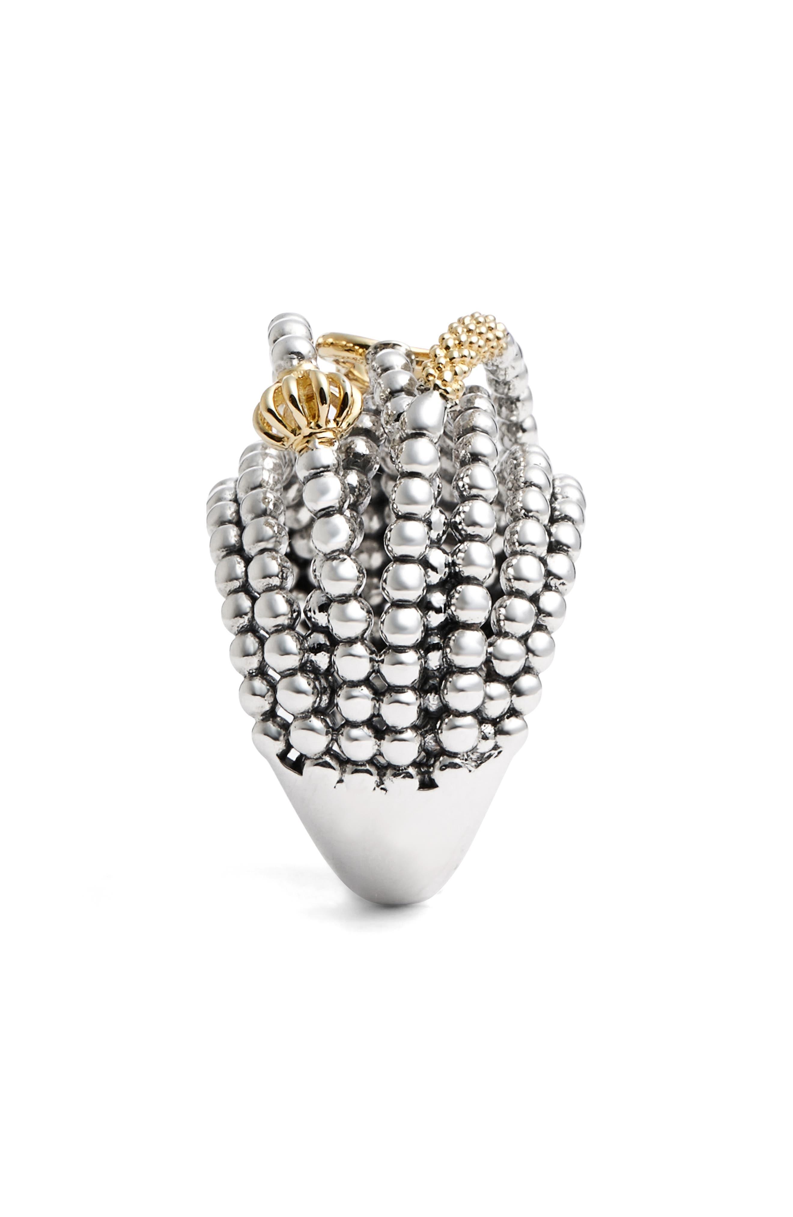 'Caviar Icon' Multi-Row Dome Ring,                             Alternate thumbnail 5, color,                             Silver/ Gold