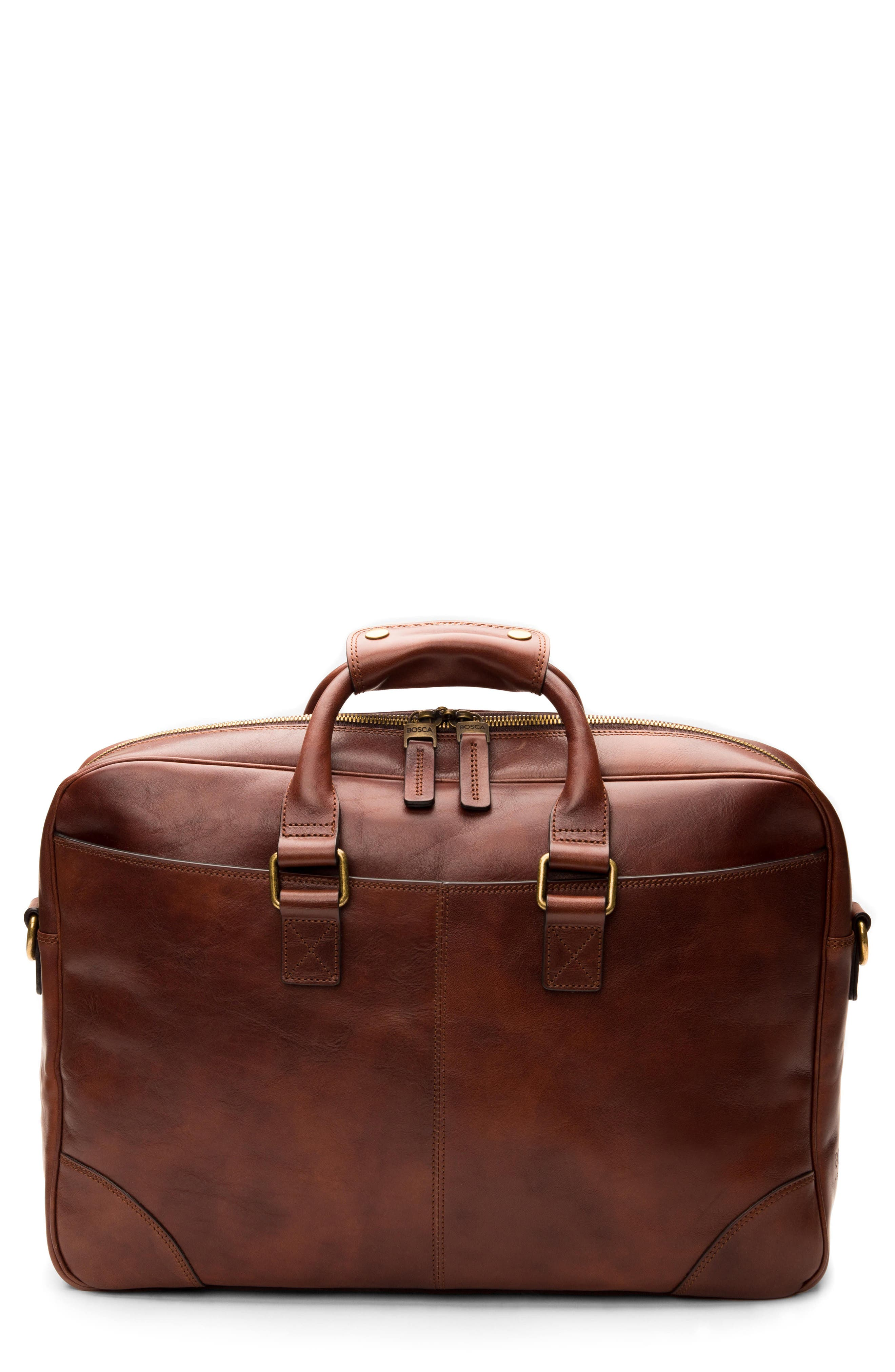 Leather Briefcase,                         Main,                         color, Dark Brown