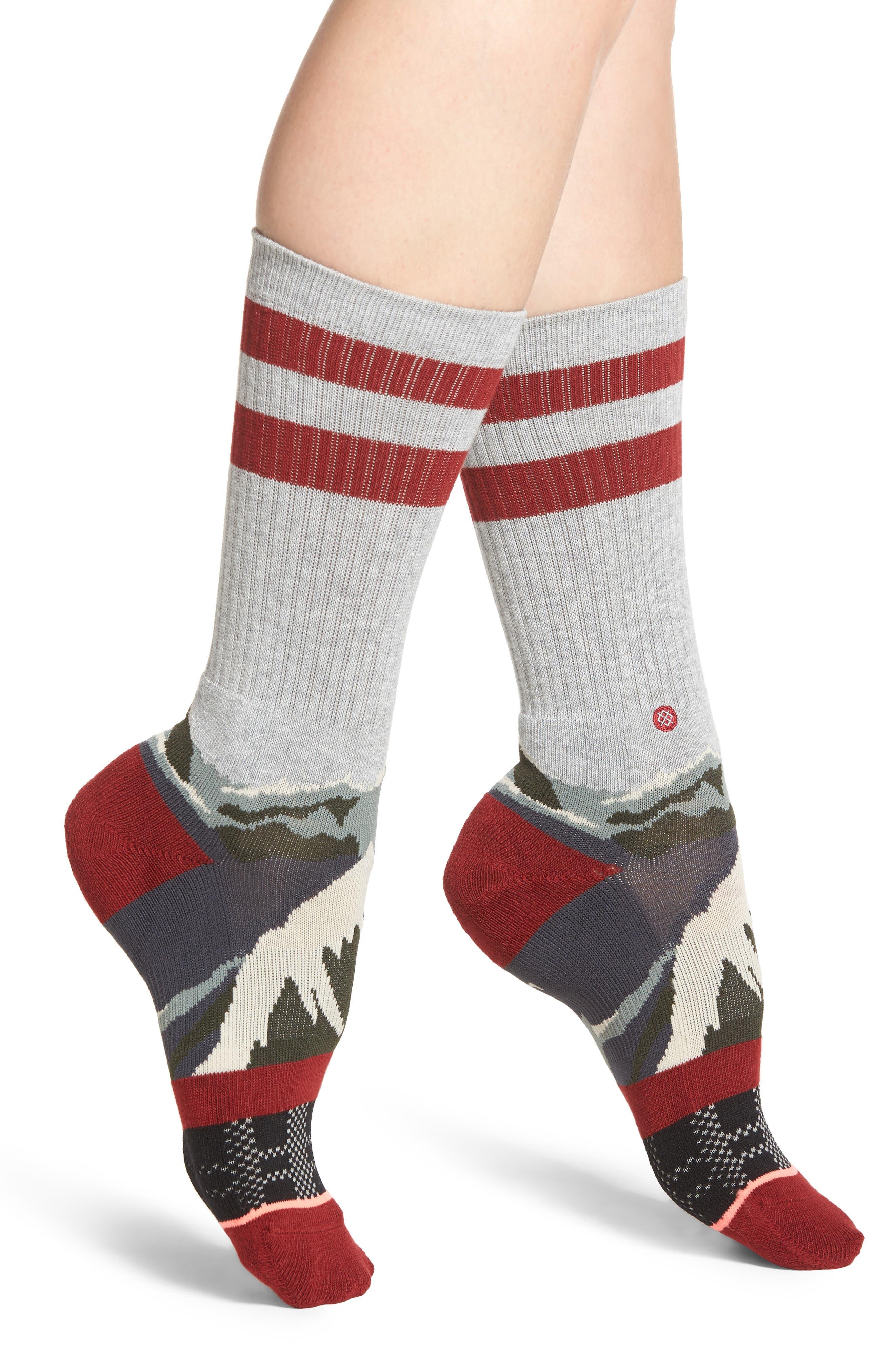 Happy Camper Crew Socks,                         Main,                         color, Grey Heather
