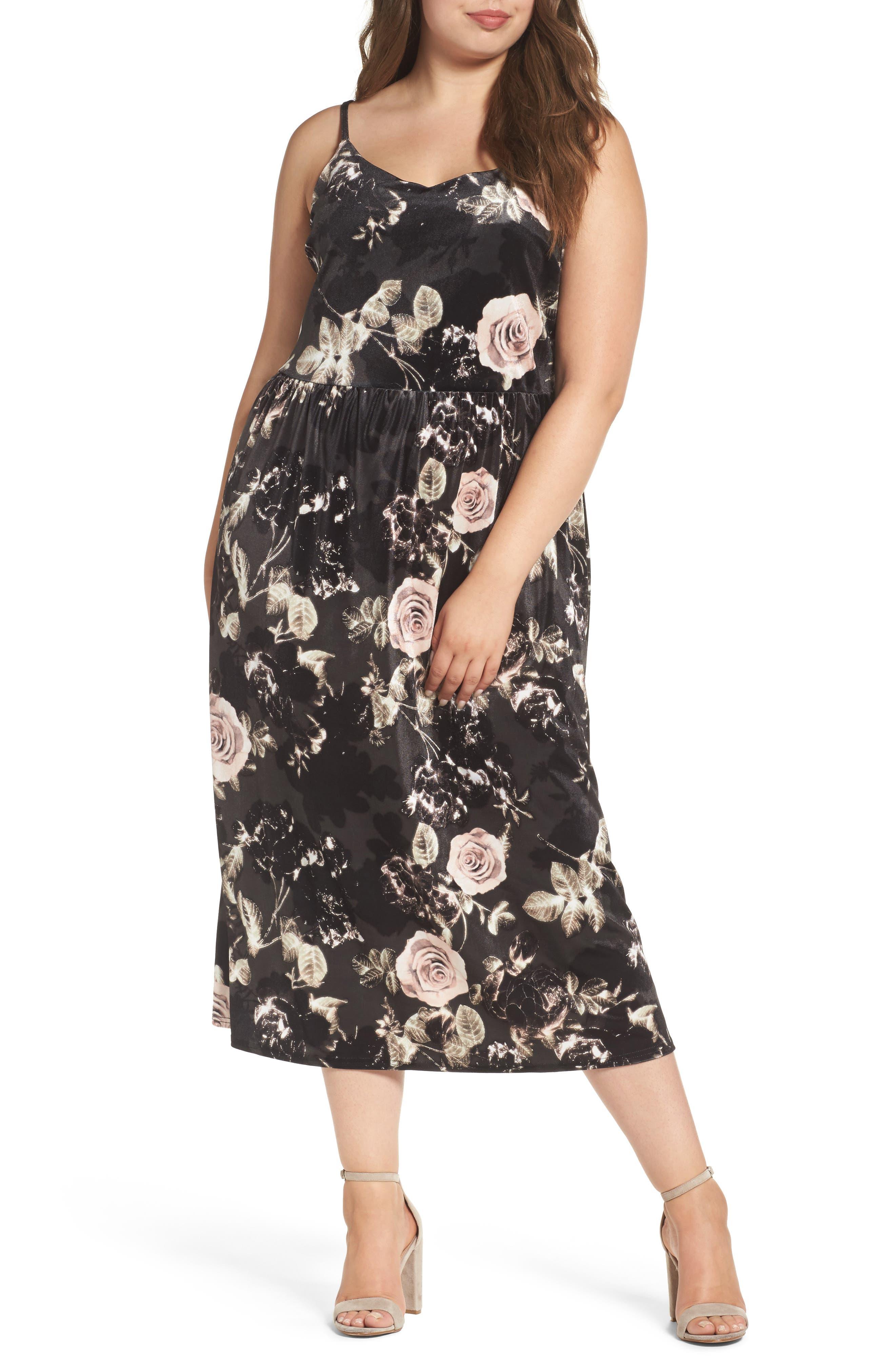 ELVI Rose Print Velvet Midi Dress (Plus Size)