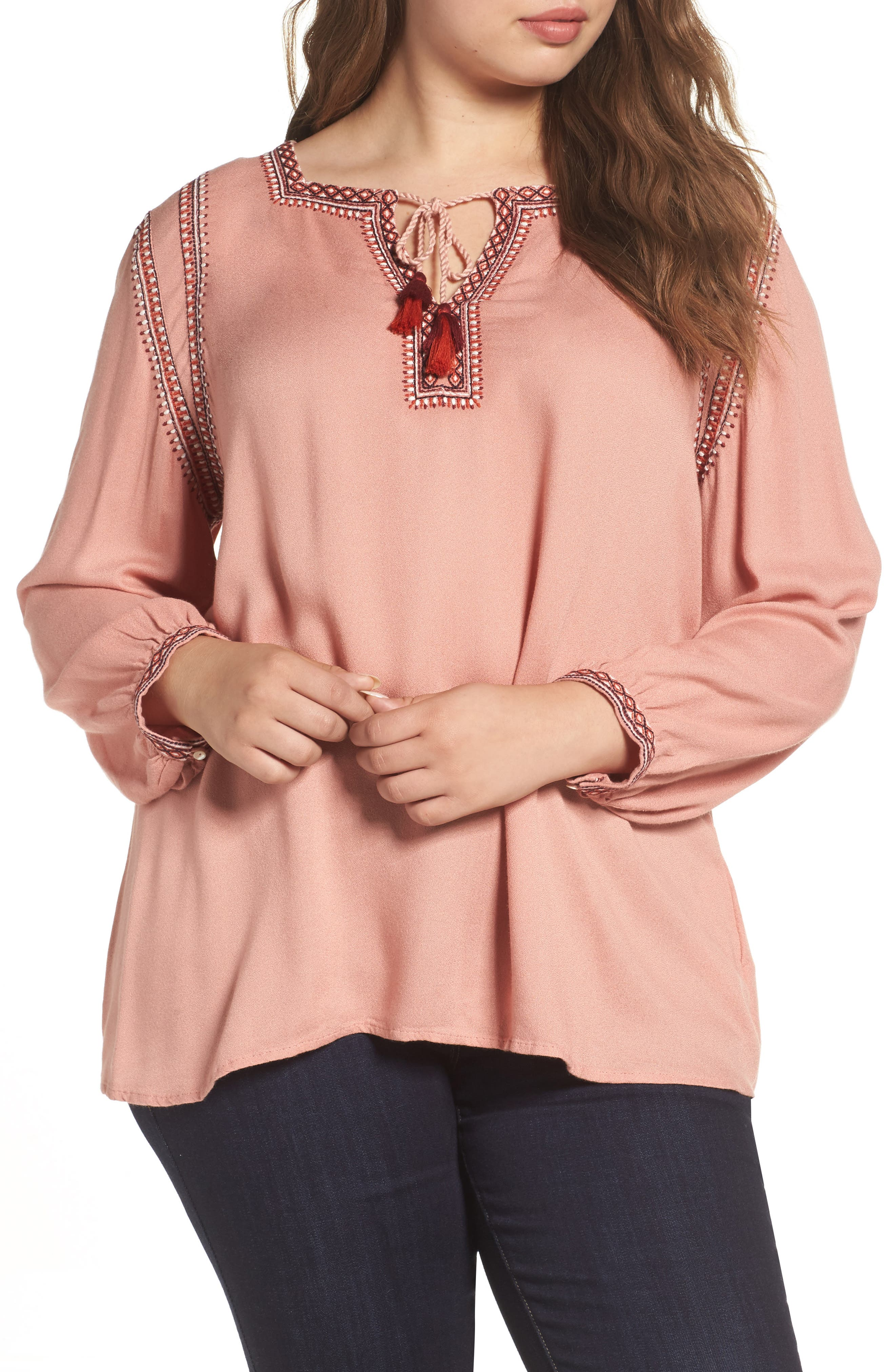 Lucky Brand Embroidered Boho Blouse (Plus Size)
