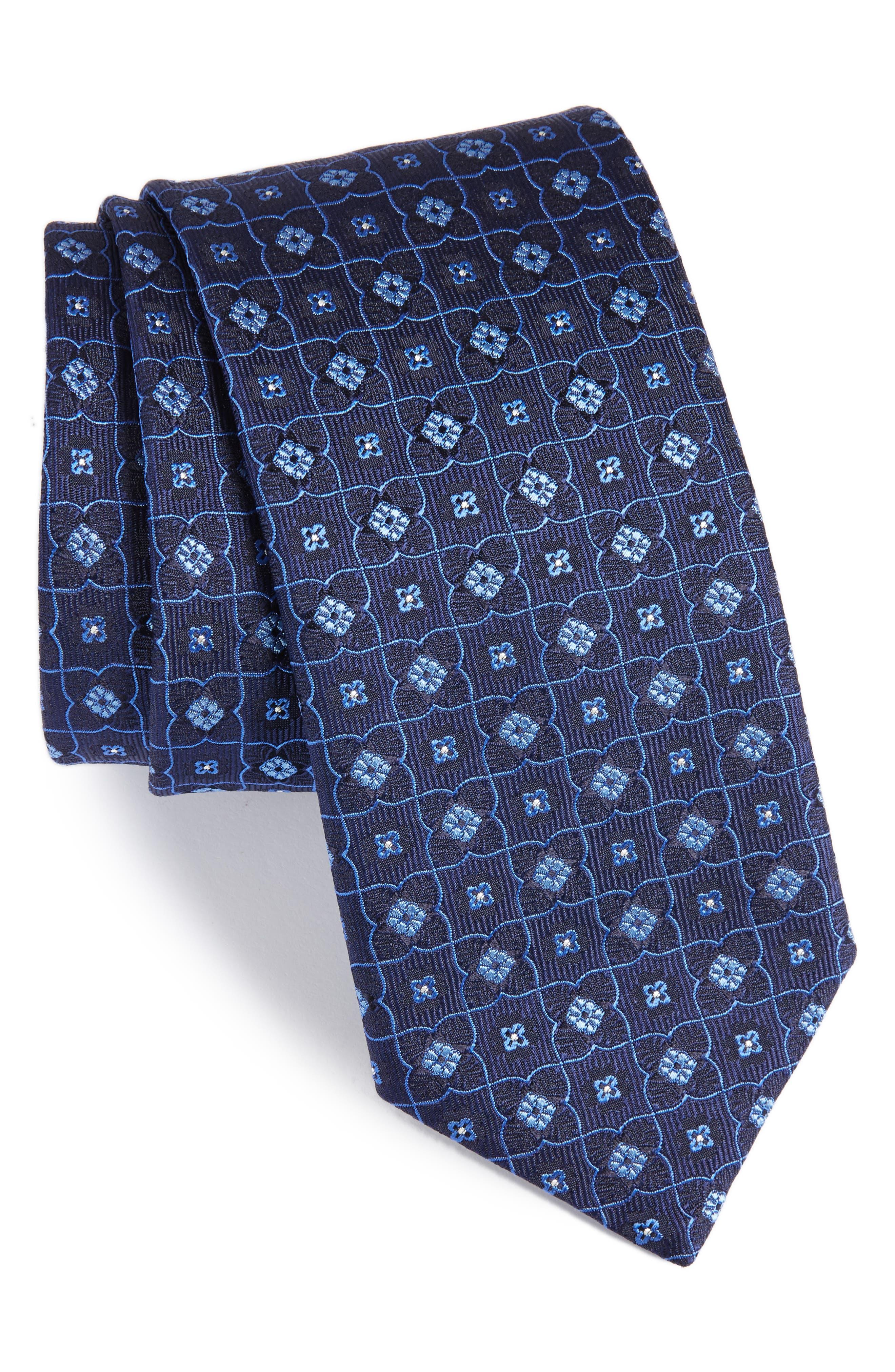 CANALI Floral Grid Silk Tie