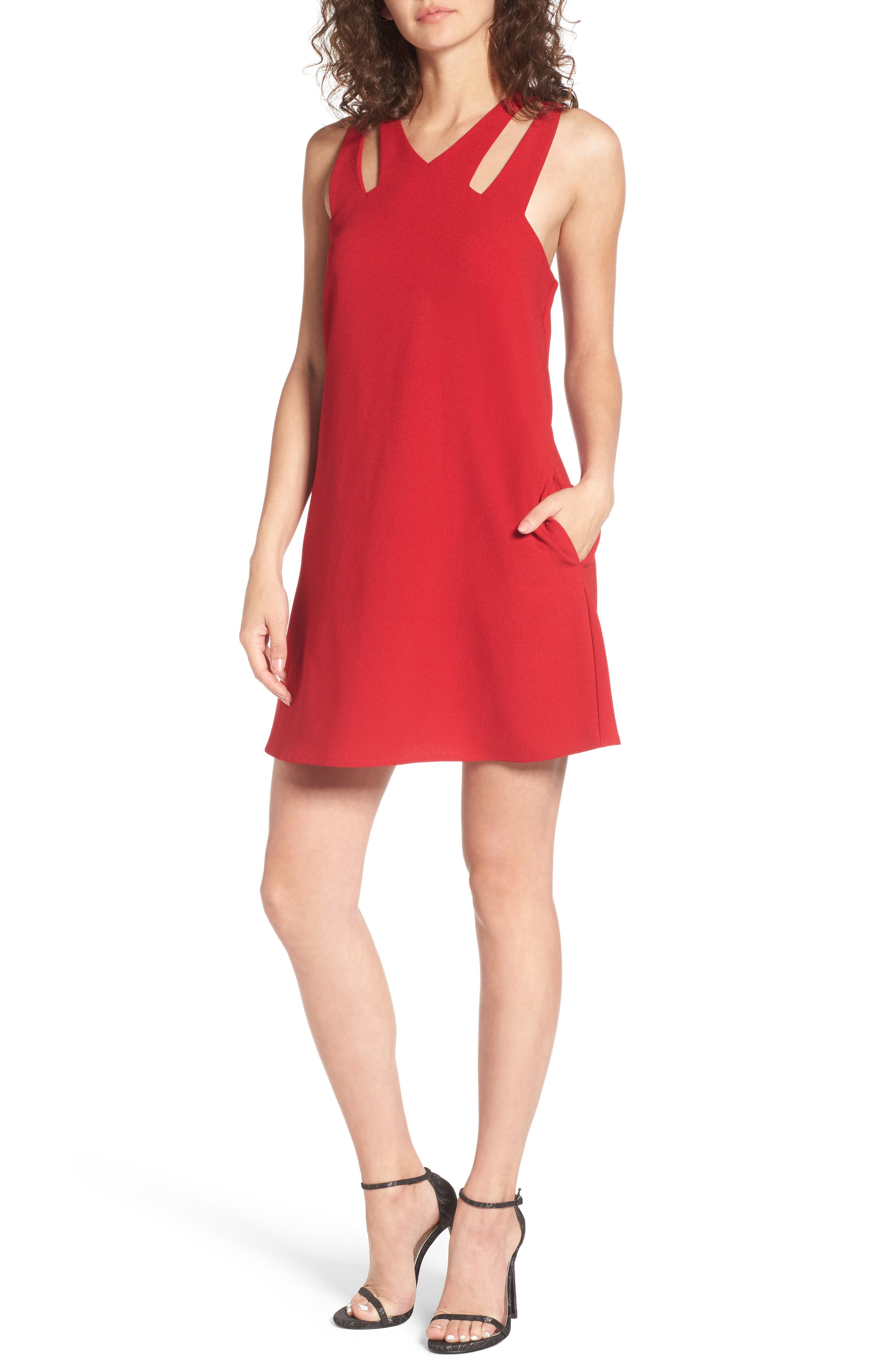 Cutout Neckline Dress,                         Main,                         color, Deep Red