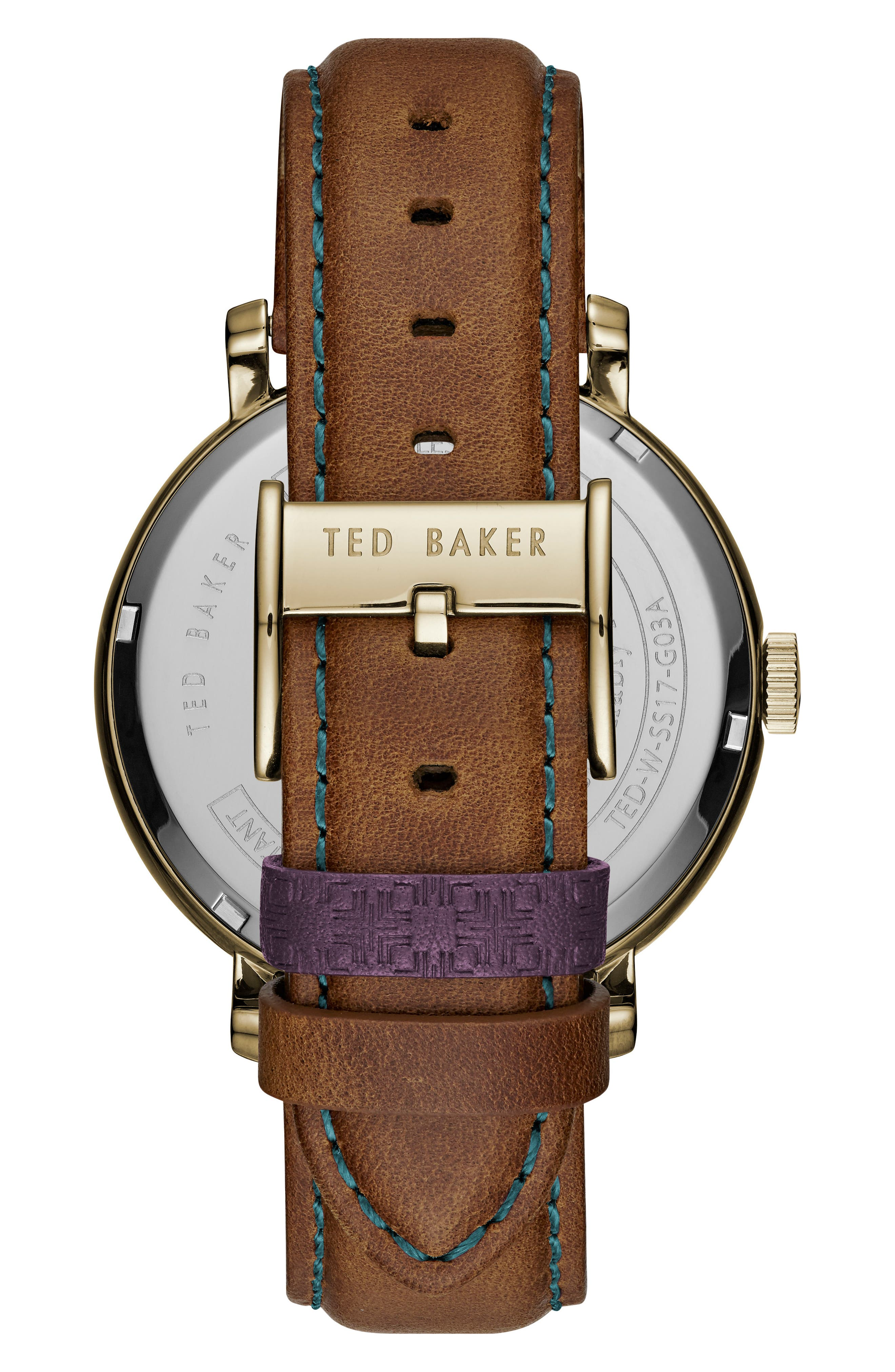 Trent Leather Strap Watch, 44mm,                             Alternate thumbnail 2, color,                             White/ Light Brown