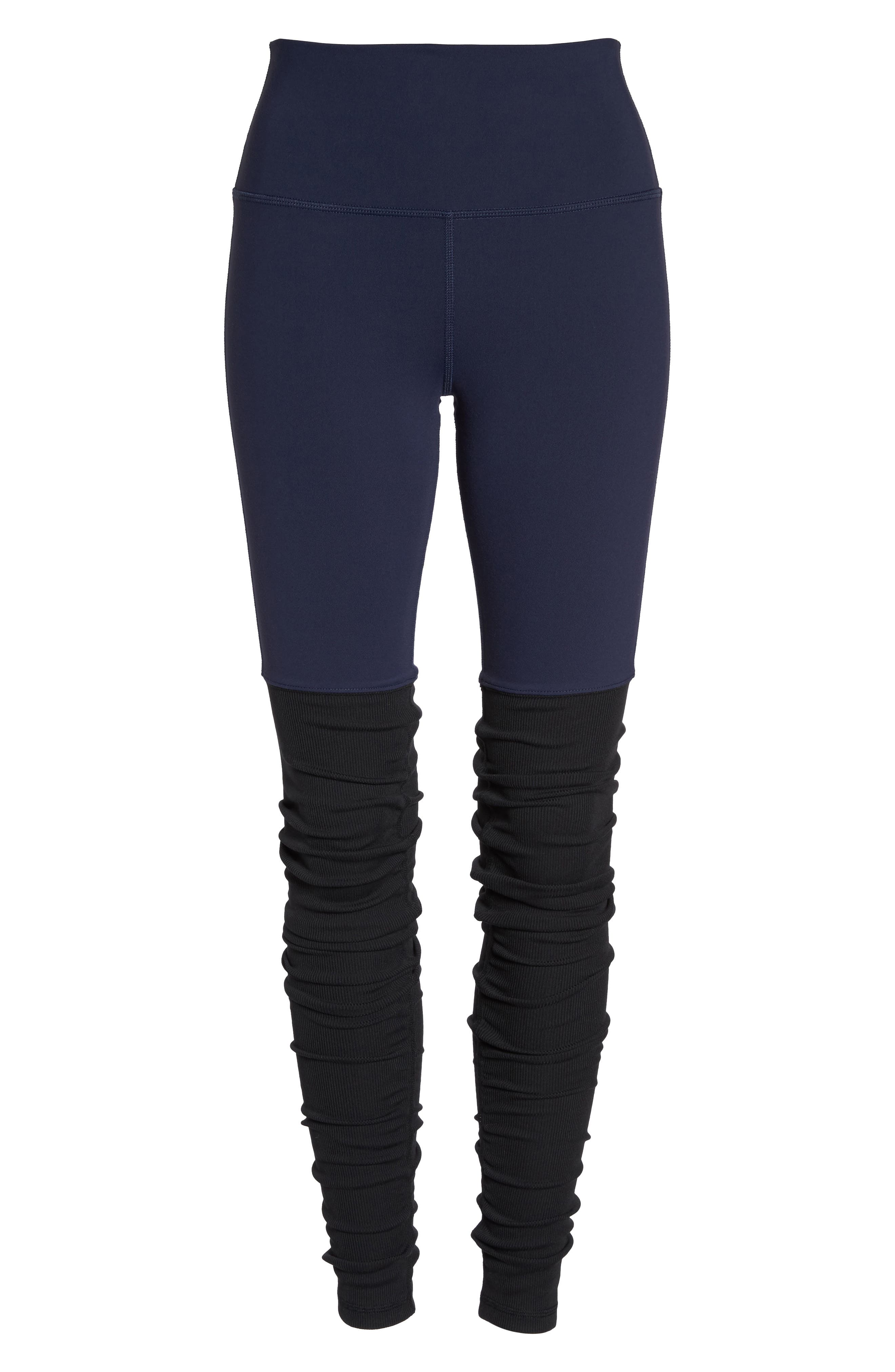 Goddess Ribbed Leggings,                             Alternate thumbnail 7, color,                             Rich Navy/ Black