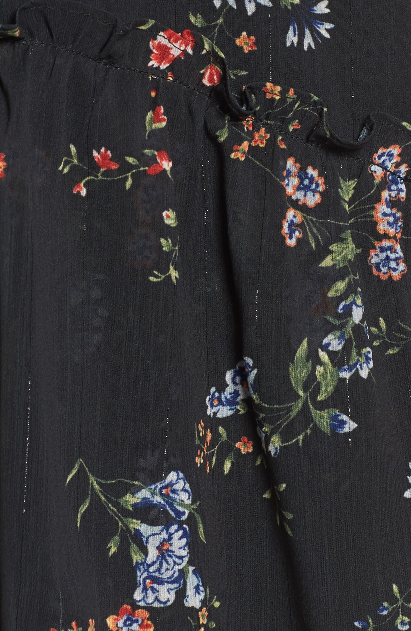 London Cold Shoulder Maxi Dress,                             Alternate thumbnail 5, color,                             Black Floral
