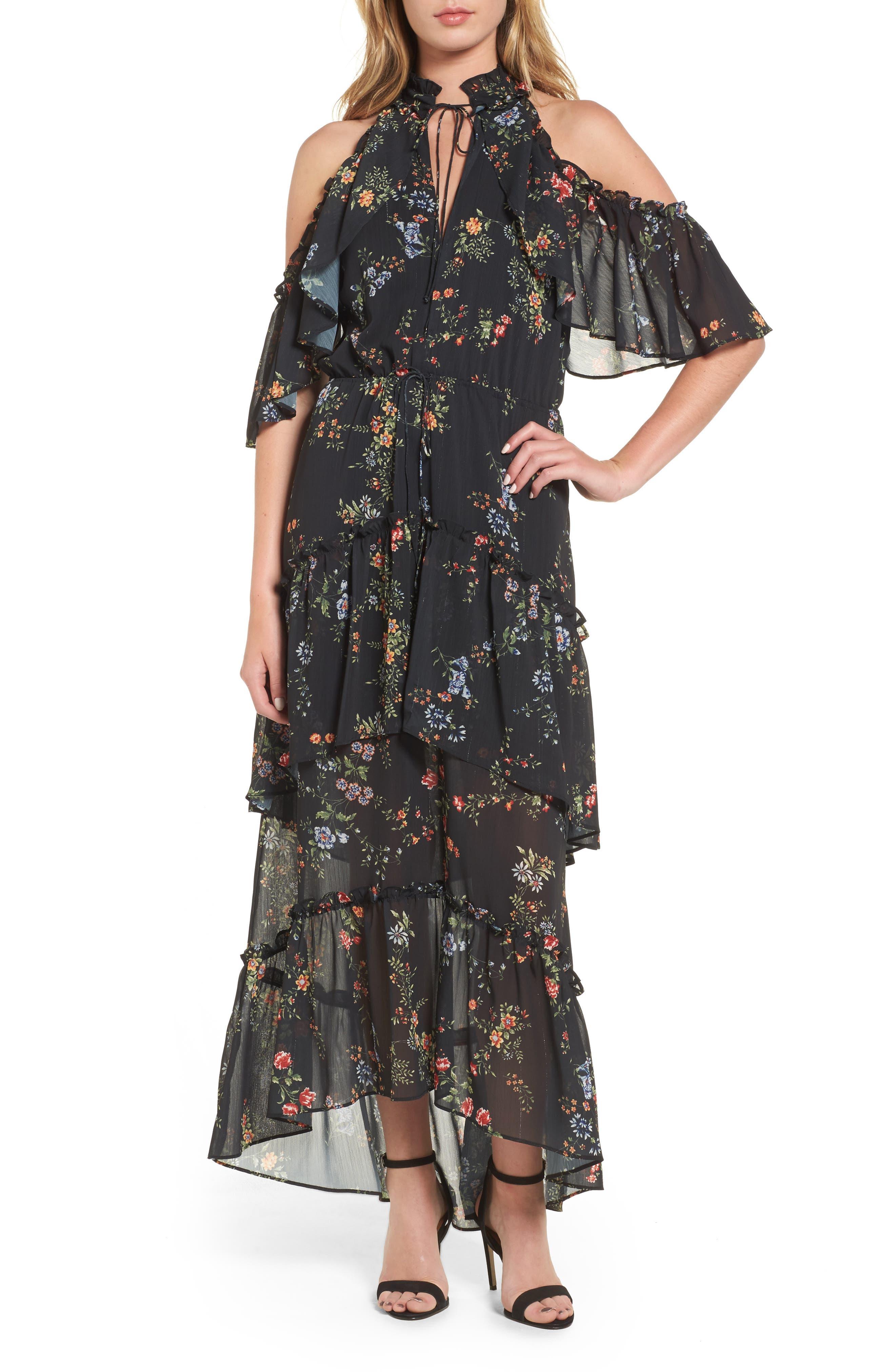 London Cold Shoulder Maxi Dress,                         Main,                         color, Black Floral