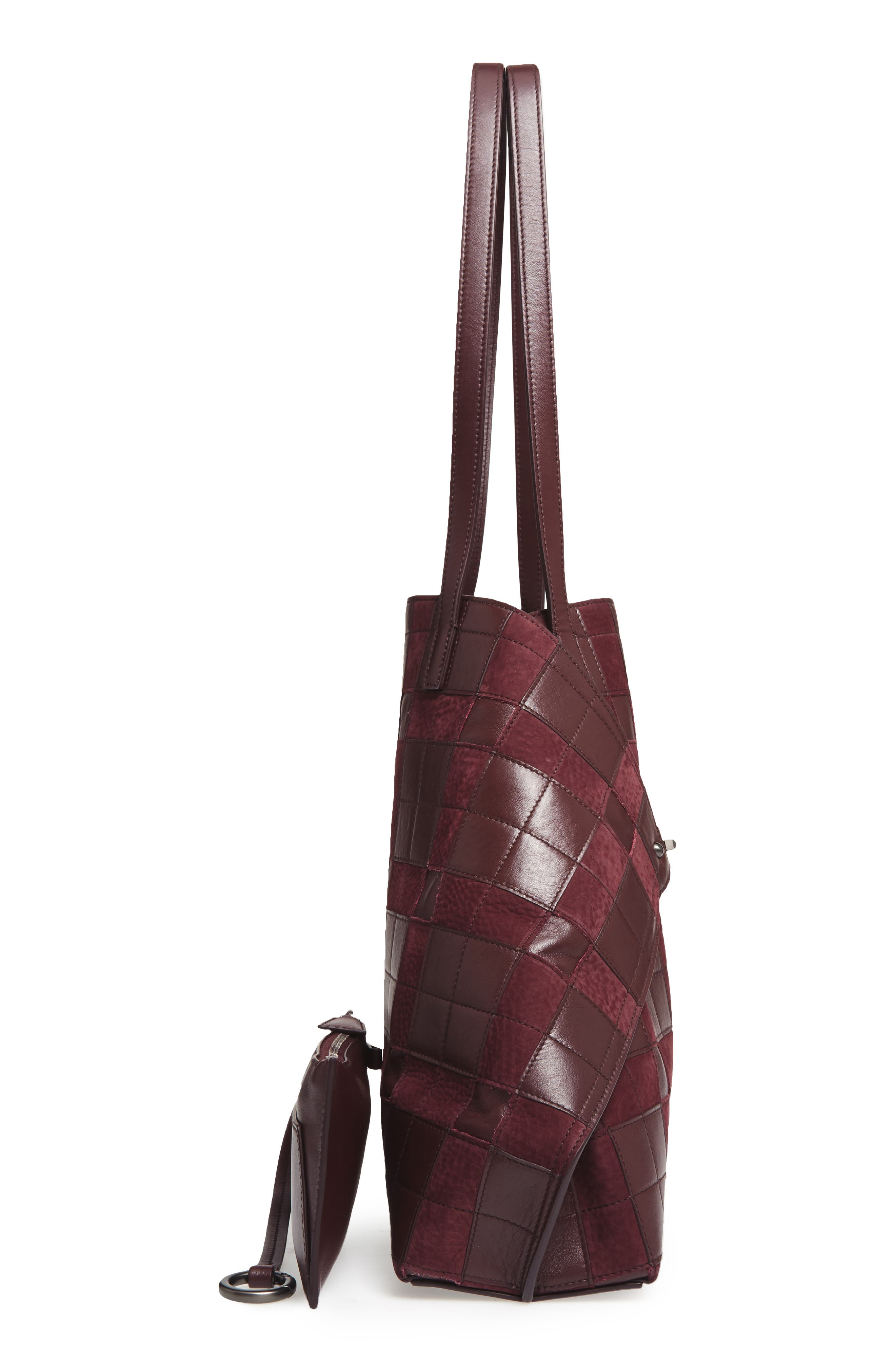 Medium AI Leather Shoulder Tote,                             Alternate thumbnail 4, color,                             Burgundy