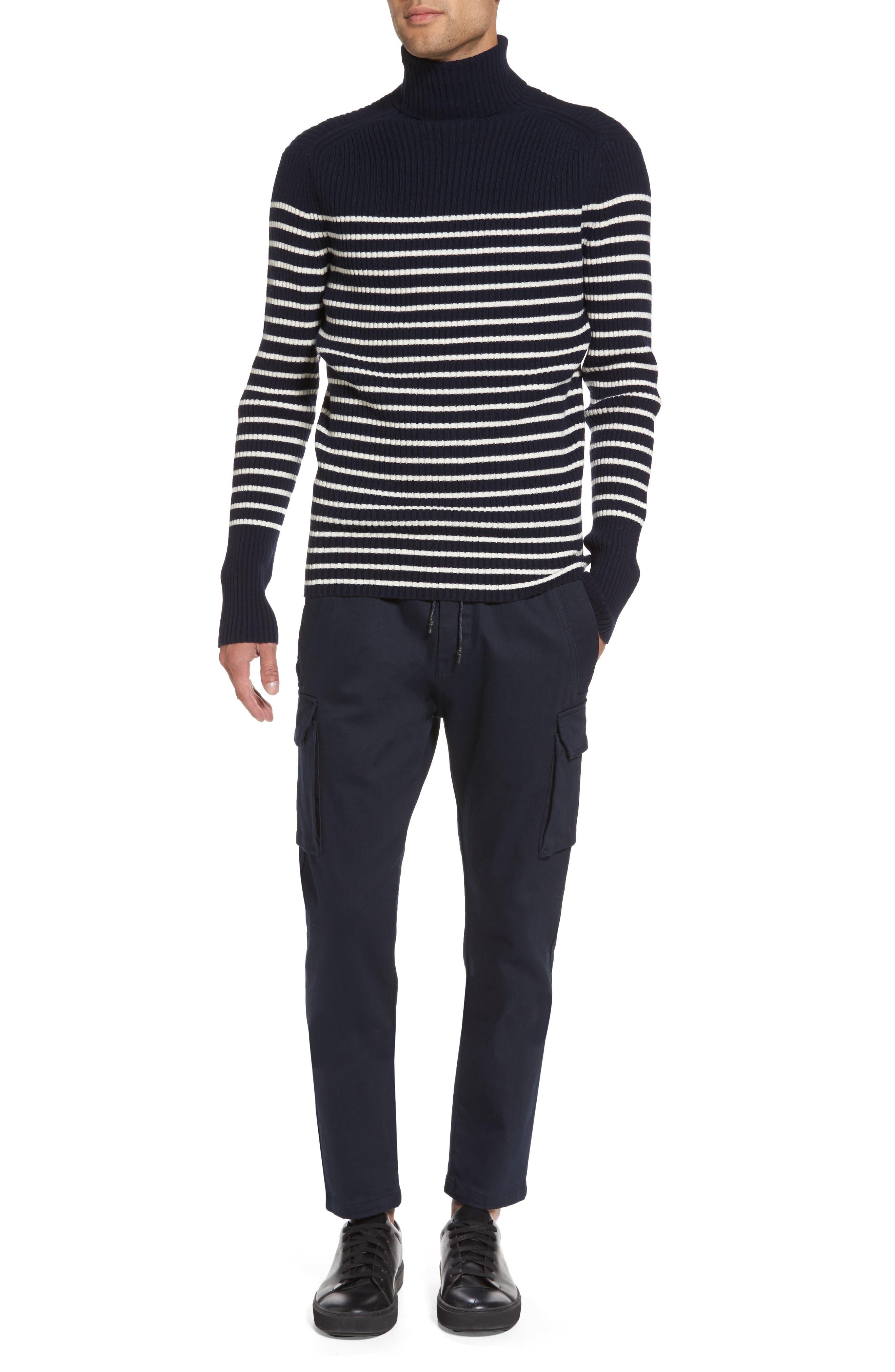 Regular Fit Breton Stripe Cashmere Turtleneck Sweater,                             Alternate thumbnail 7, color,                             Coastal/ Breeze