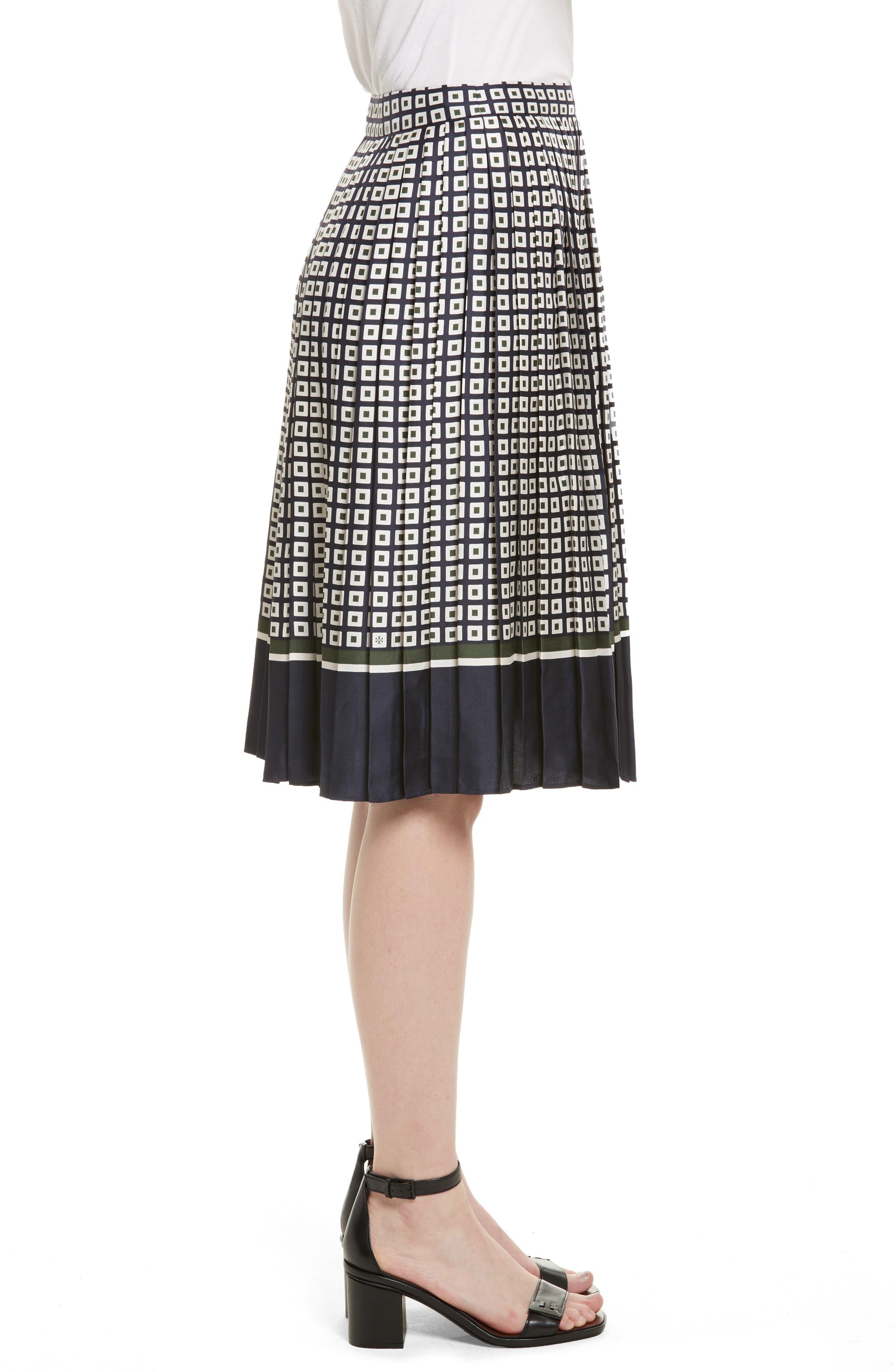 Marea Pleated Silk Skirt,                             Alternate thumbnail 3, color,                             Milano Square Border