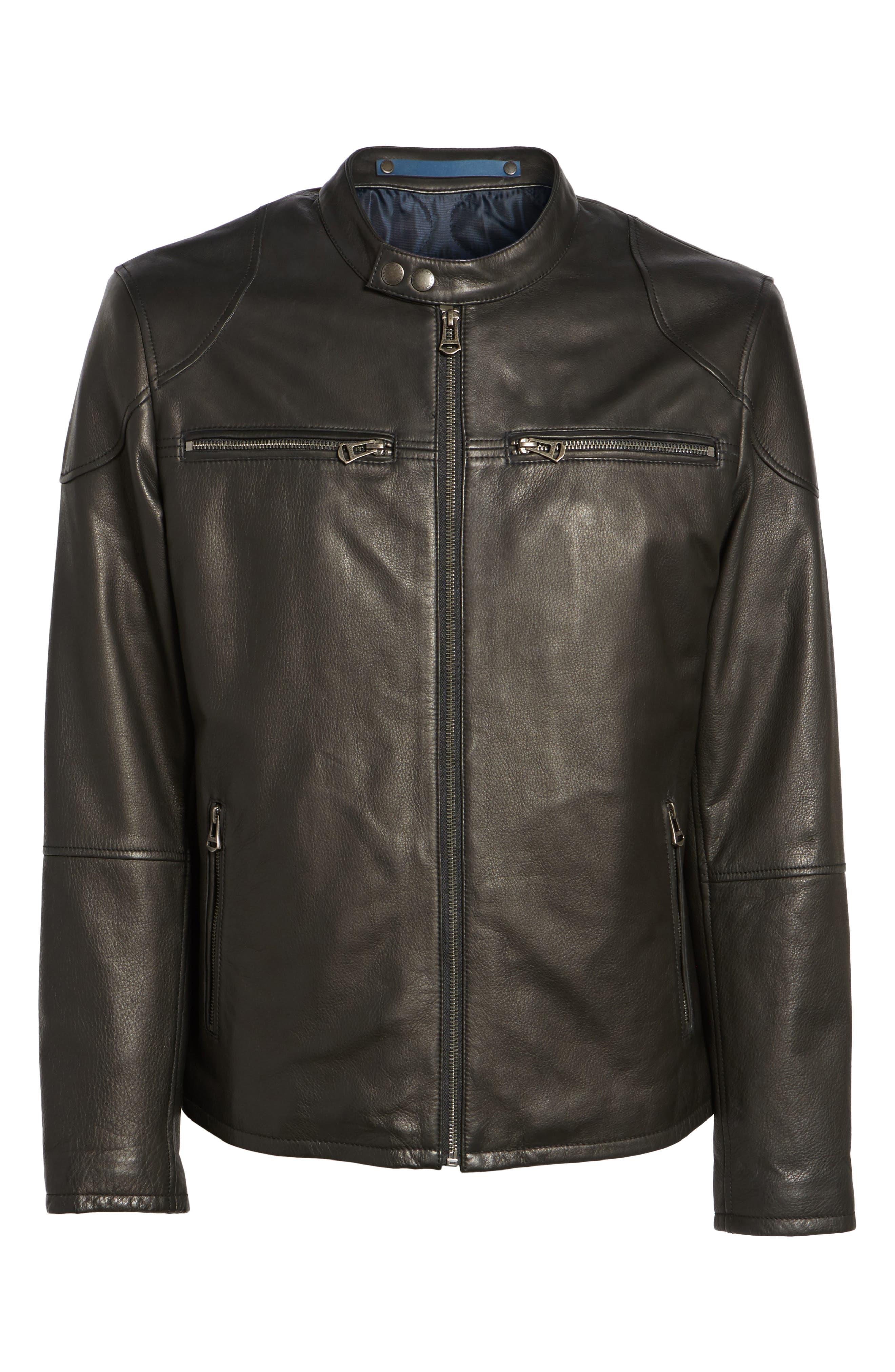 Leather Zip Front Moto Jacket,                             Alternate thumbnail 6, color,                             Black