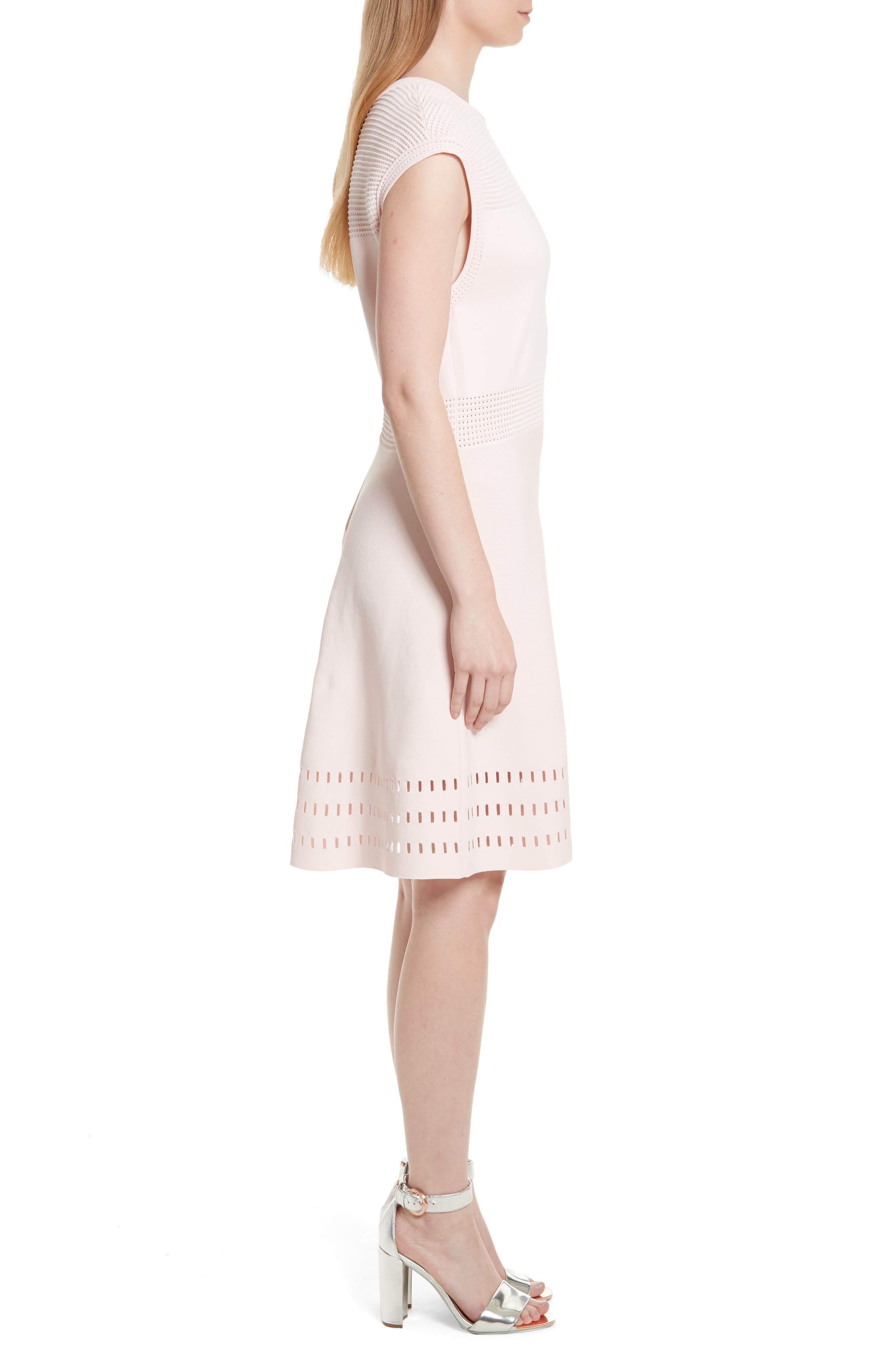 Aurbray Knit Skater Dress,                             Alternate thumbnail 3, color,                             Nude Pink
