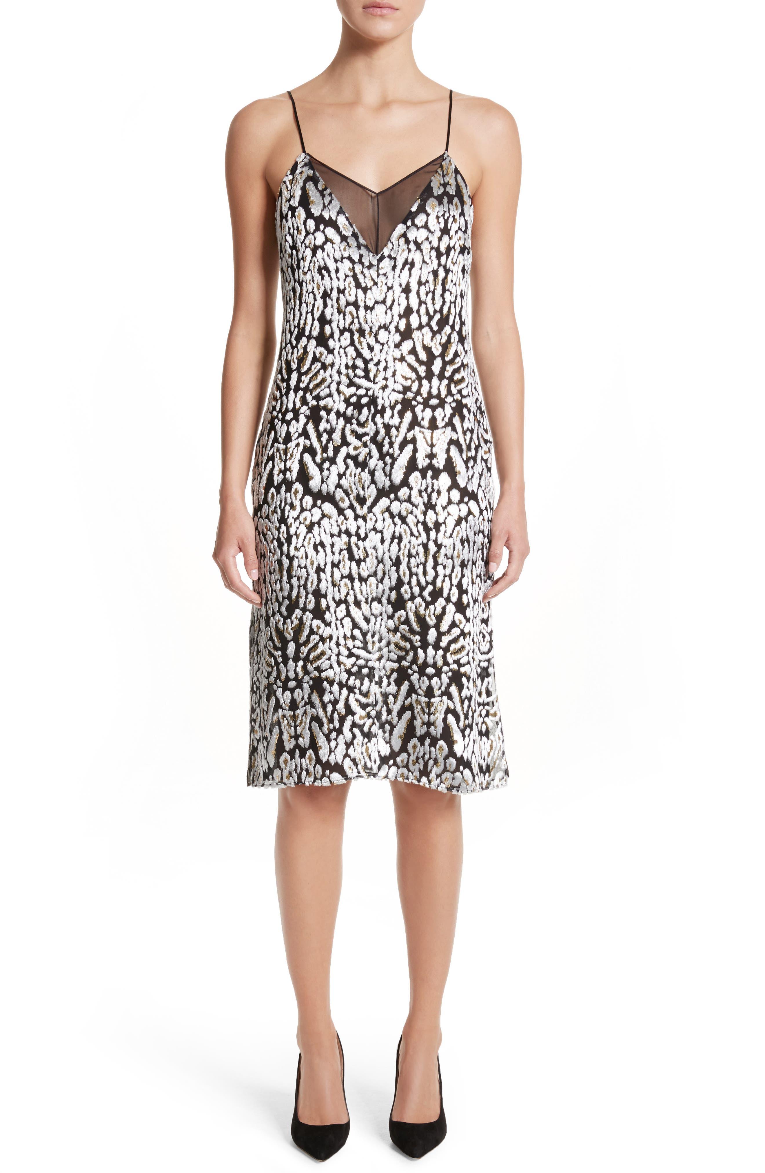 Ocelot Velvet Jacquard Dress,                             Main thumbnail 1, color,                             Black/ Ivory/ Gold