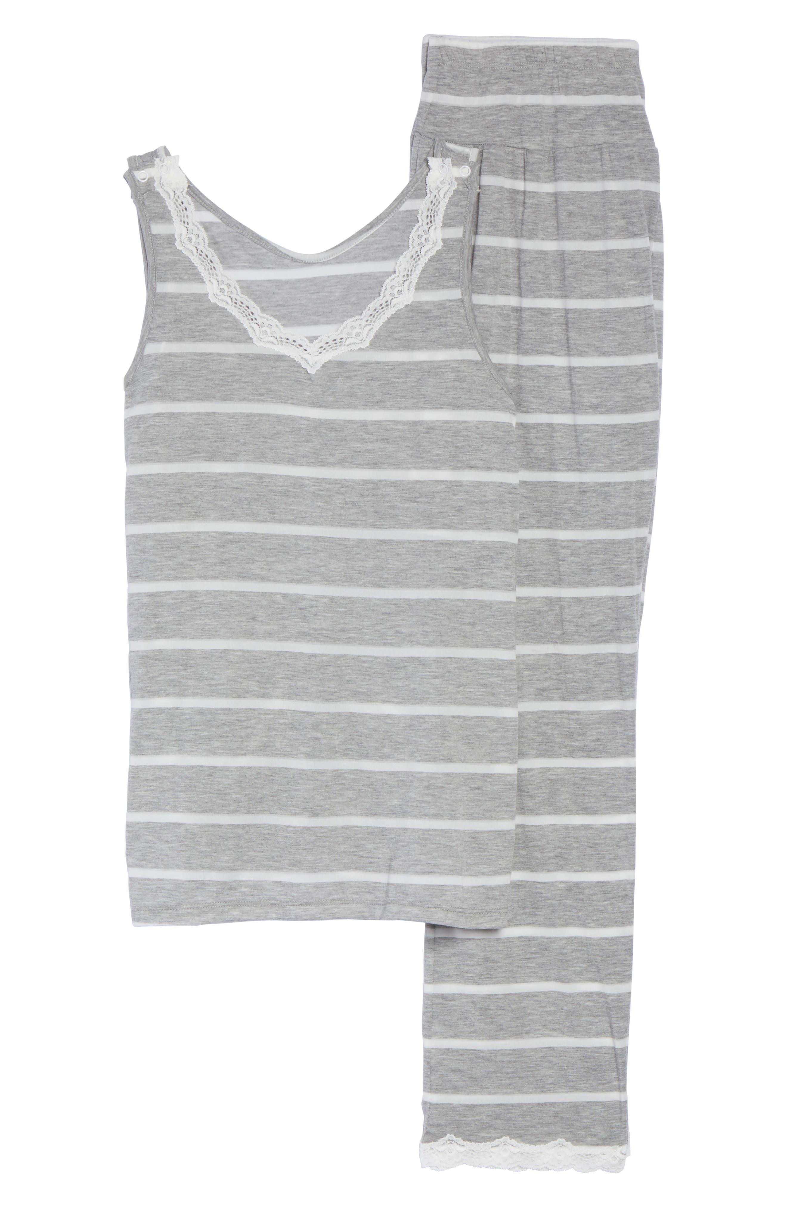 Maternity/Nursing Tank Pajamas,                             Alternate thumbnail 4, color,                             Grey Stripe