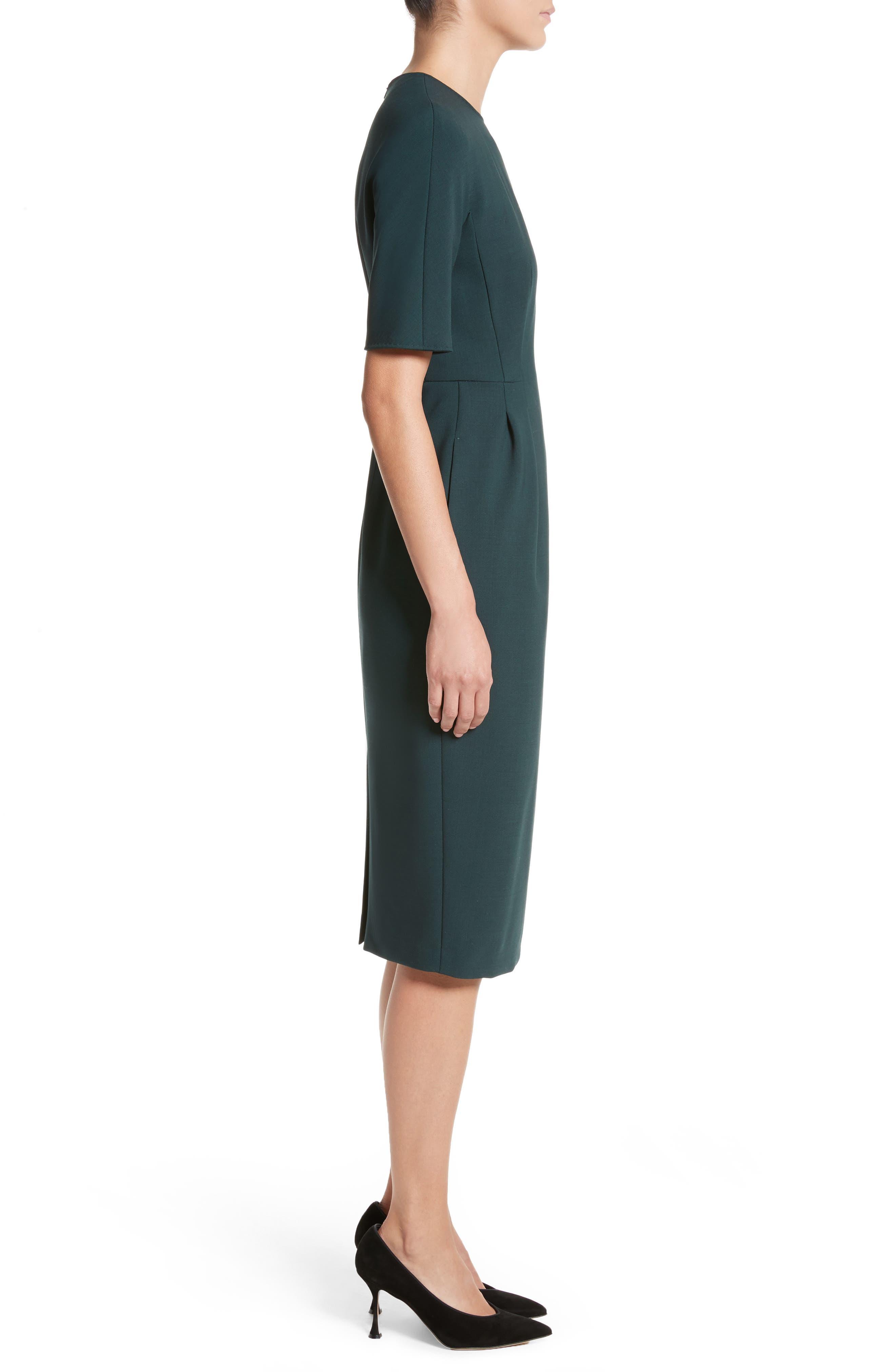 Umano Stretch Wool Sheath Dress,                             Alternate thumbnail 3, color,                             Dark Green