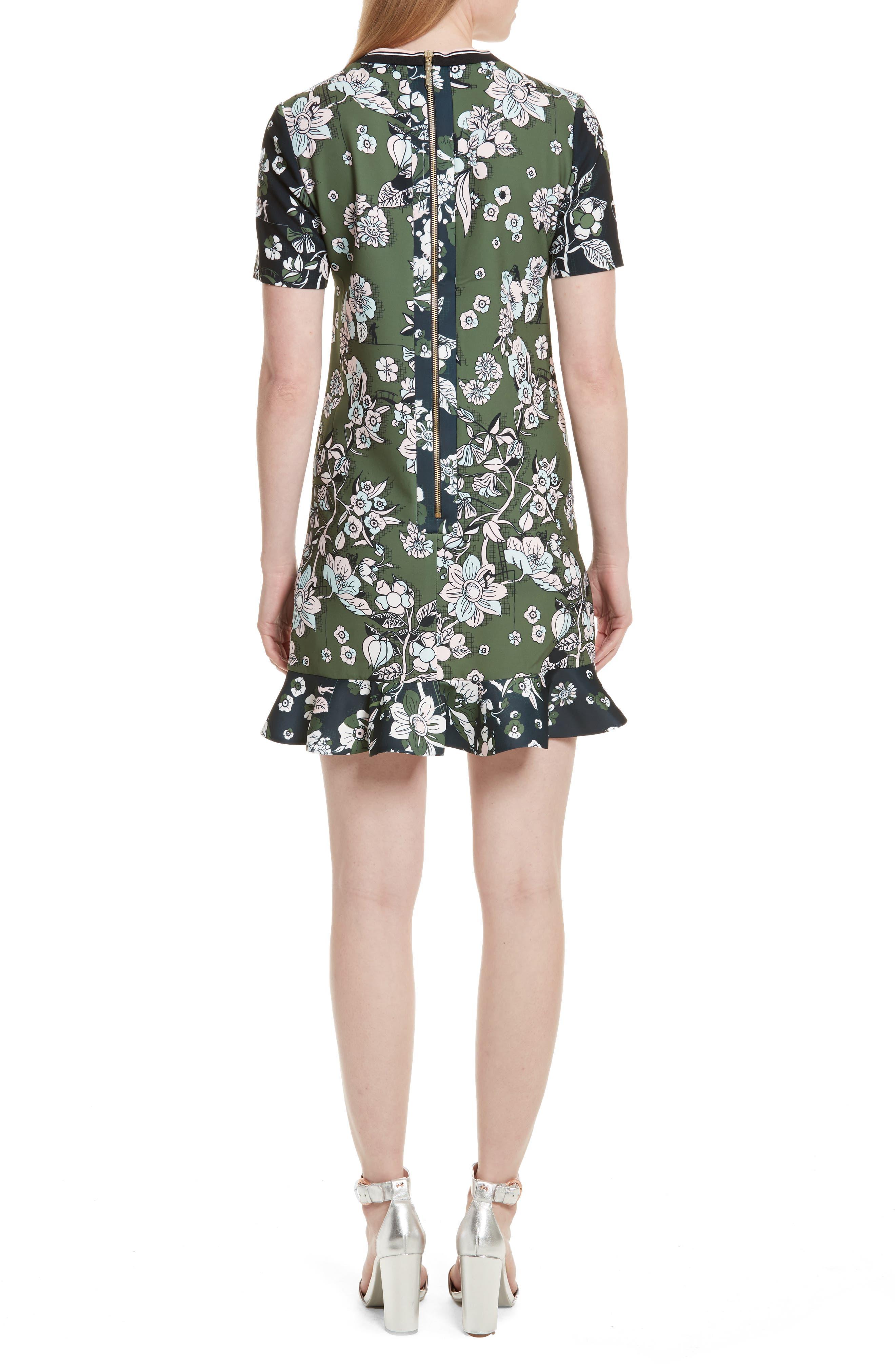 Hoster Floral Print Ruffle Hem Dress,                             Alternate thumbnail 2, color,                             Green
