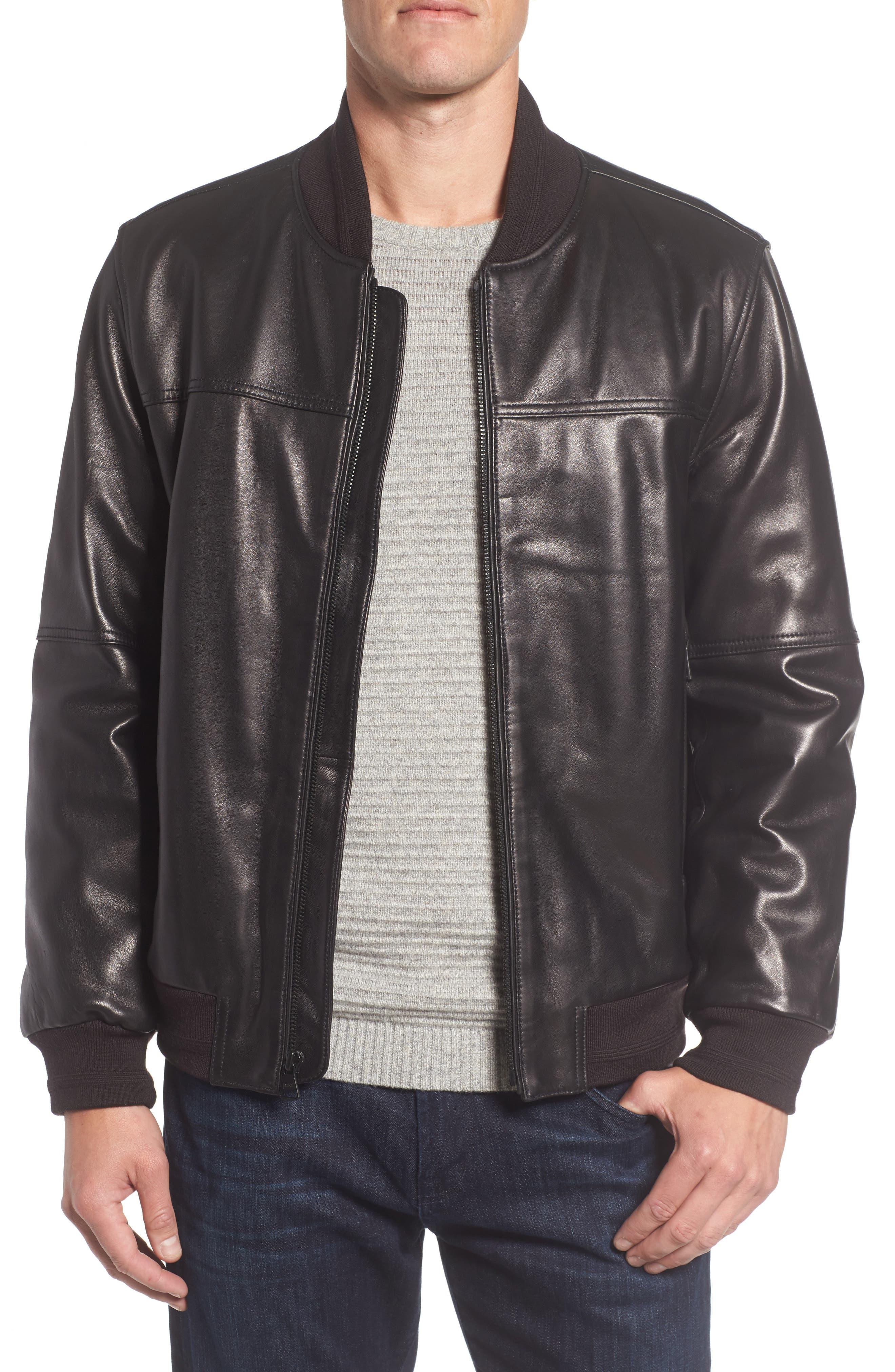Summit Leather Bomber Jacket,                             Main thumbnail 1, color,                             Black