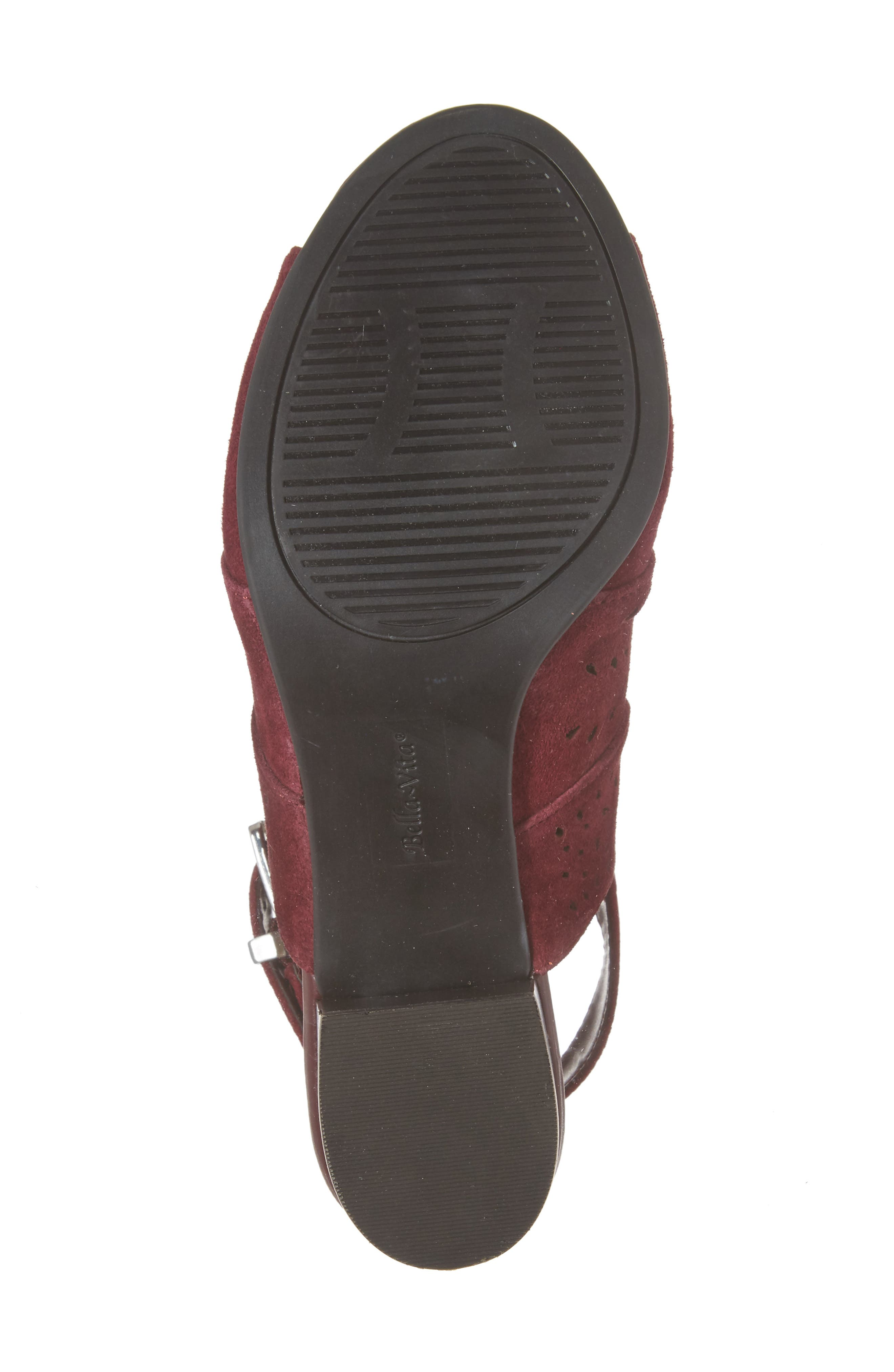 Fonda Perforated Sandal,                             Alternate thumbnail 6, color,                             Burgundy Suede