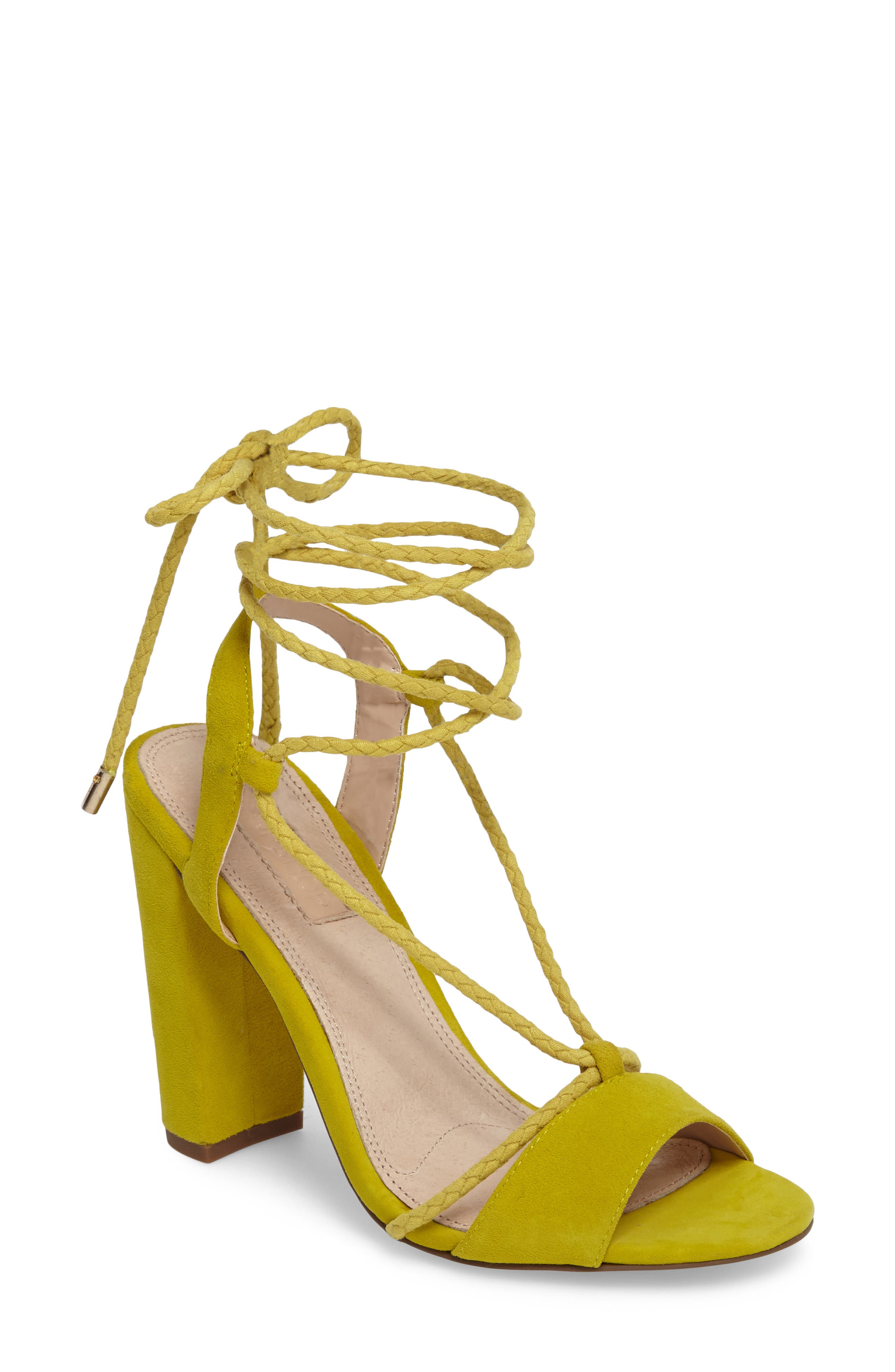 Reno Ankle Tie Sandal,                         Main,                         color, Yellow