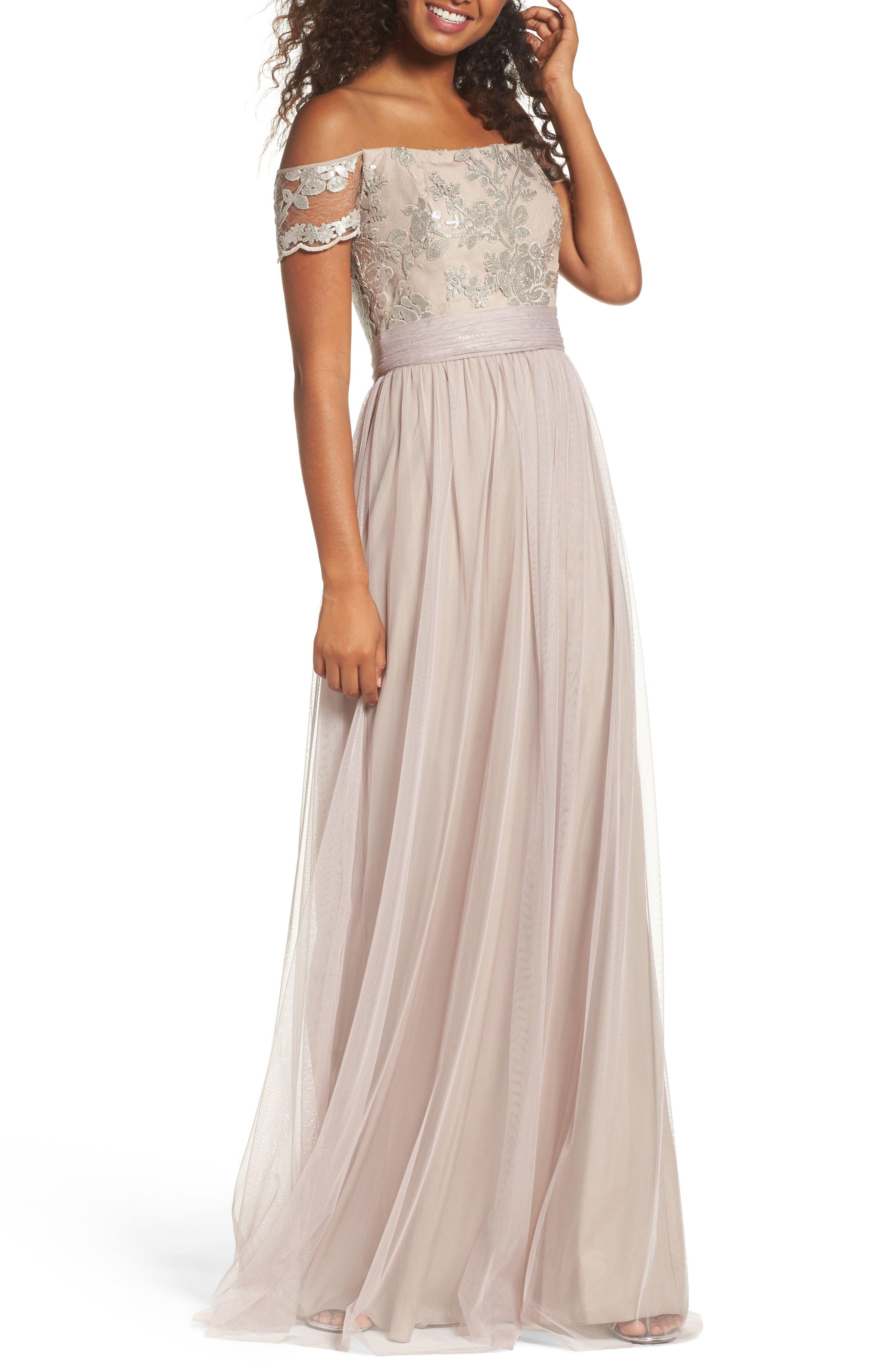 Amsale Ireland Embellished Off the Shoulder Gown