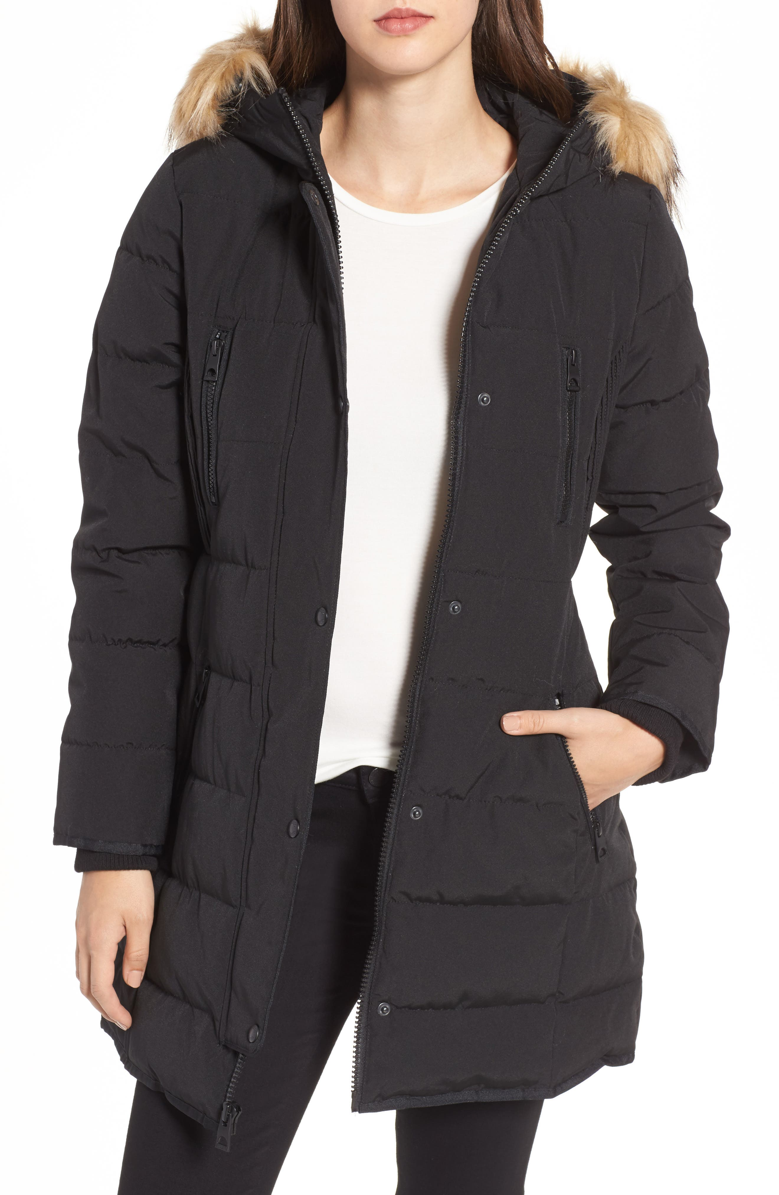 GUESS Hooded Jacket with Faux Fur Trim