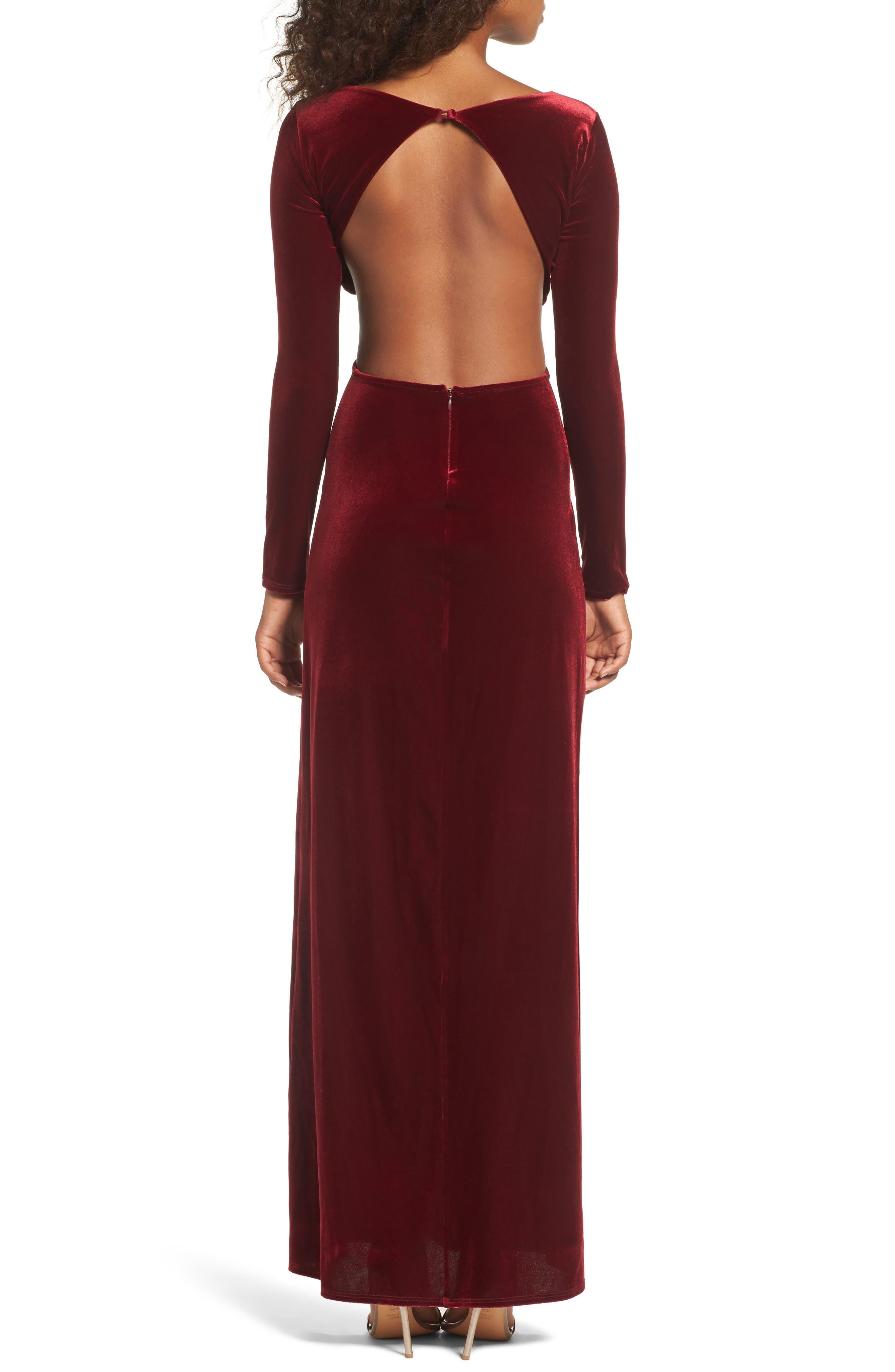 Besame Long Sleeve Velvet Maxi Dress,                             Alternate thumbnail 2, color,                             Burgundy