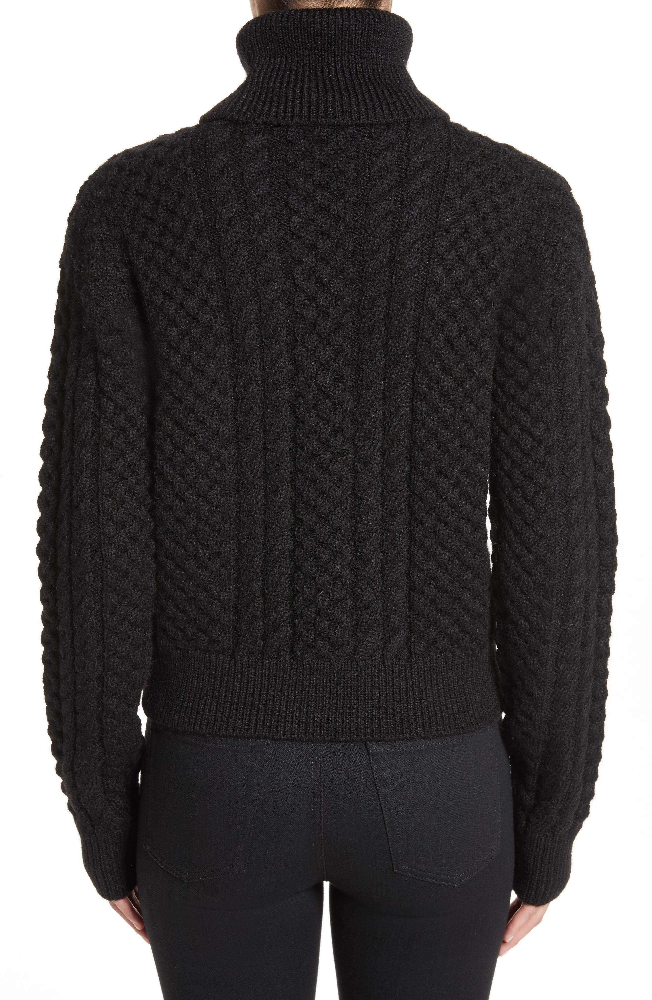 Cable Knit Wool Turtleneck Sweater,                             Alternate thumbnail 2, color,                             Black