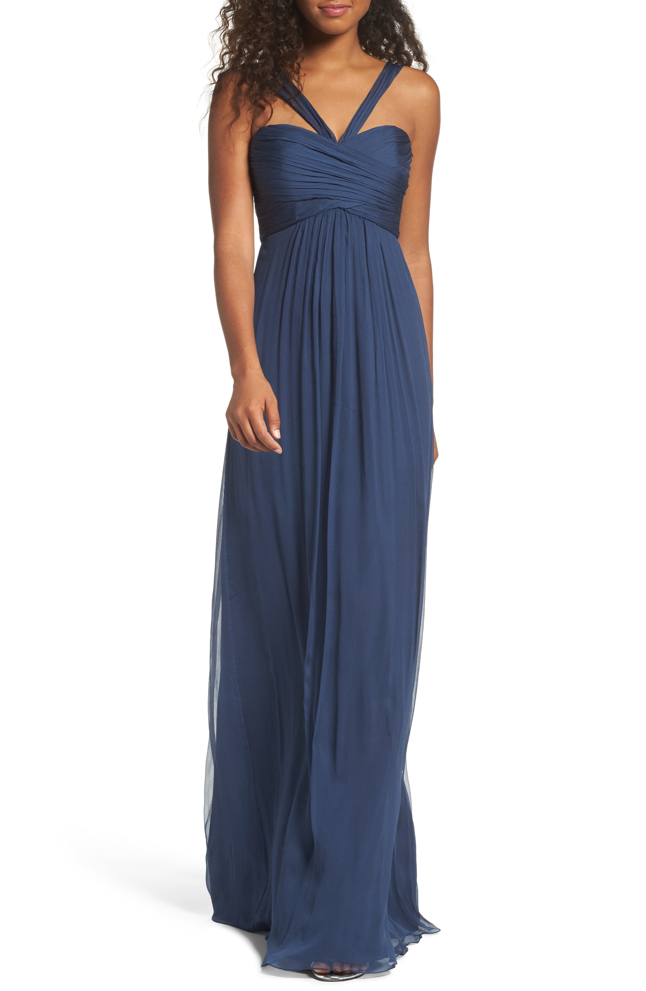 Corbin Crinkled Chiffon Empire Gown,                         Main,                         color, French Blue
