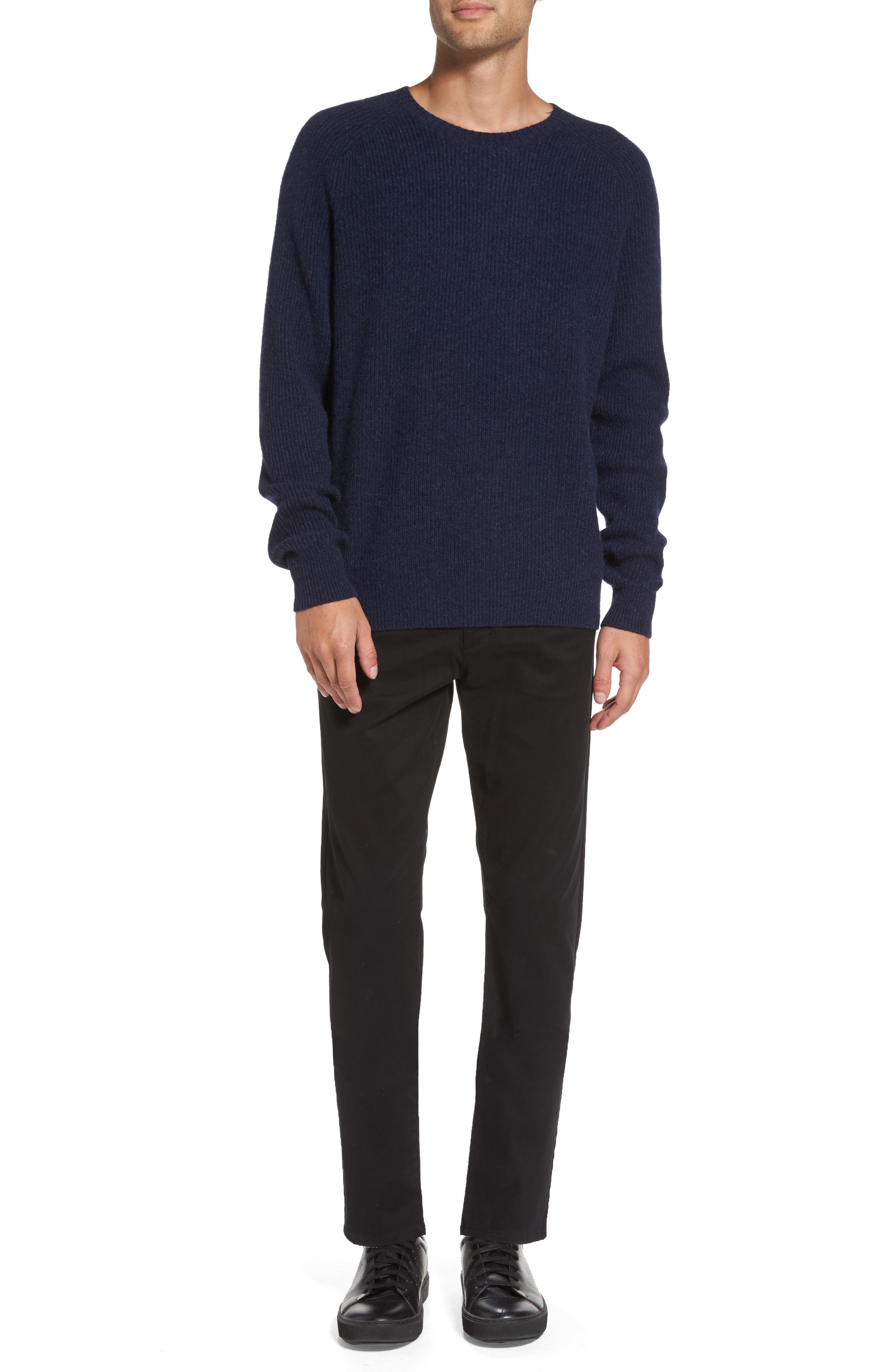 Ribbed Wool & Cashmere Raglan Sweater,                             Alternate thumbnail 7, color,                             Coastal