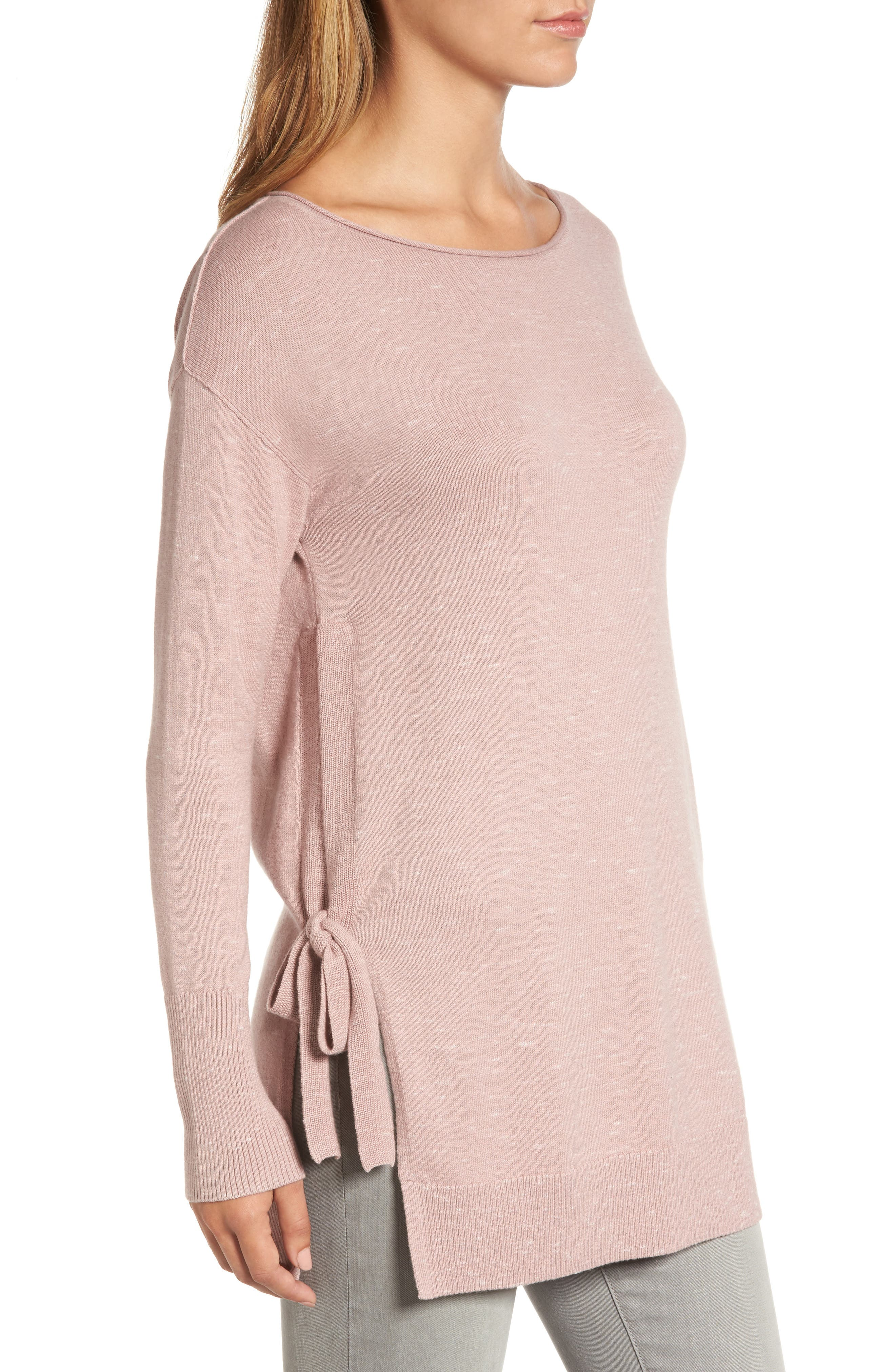 Side Tie Tunic Top,                             Alternate thumbnail 3, color,                             Pink- Ivory Pattern