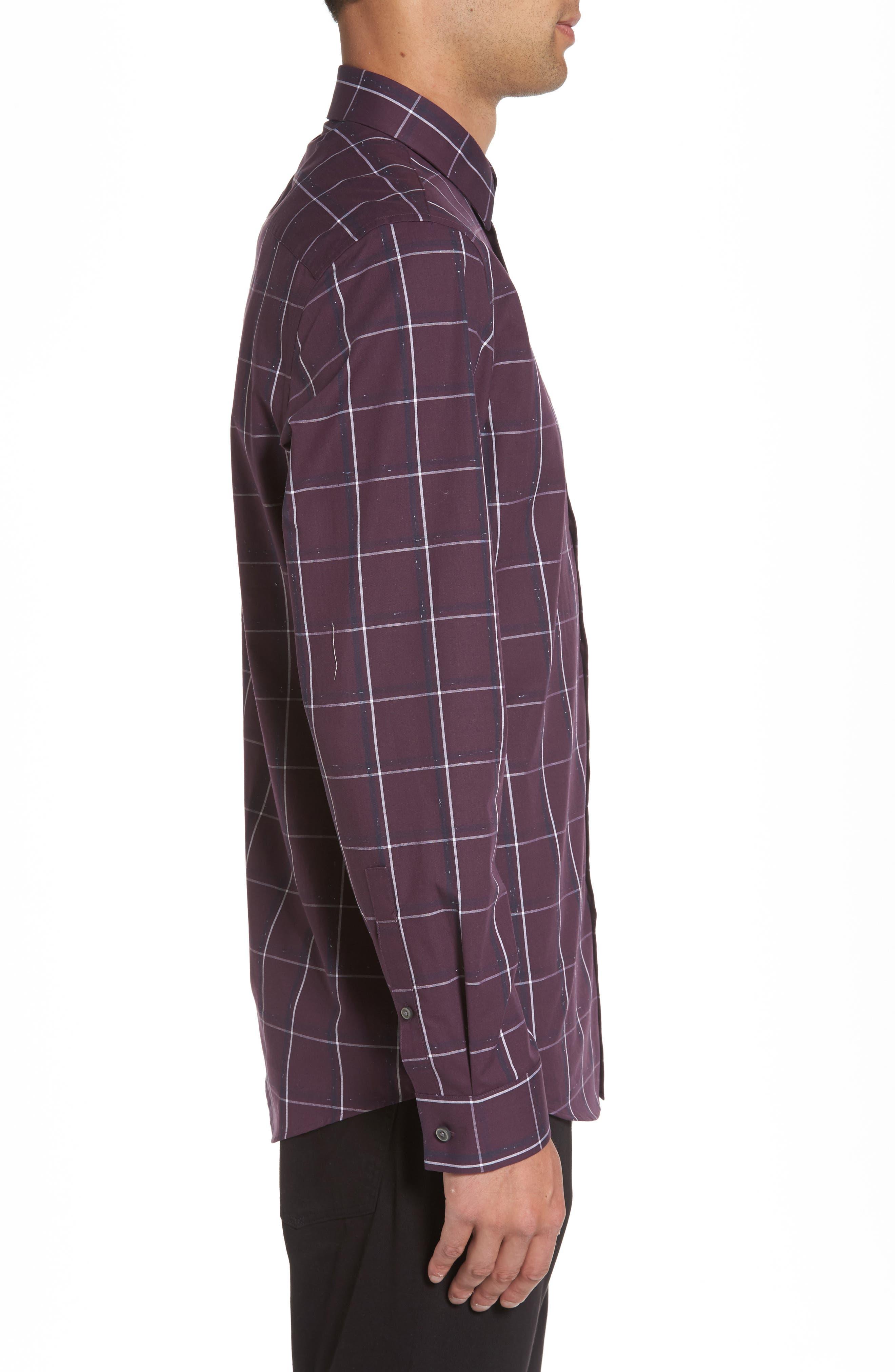 Check Sport Shirt,                             Alternate thumbnail 3, color,                             Purple Plum White Grid