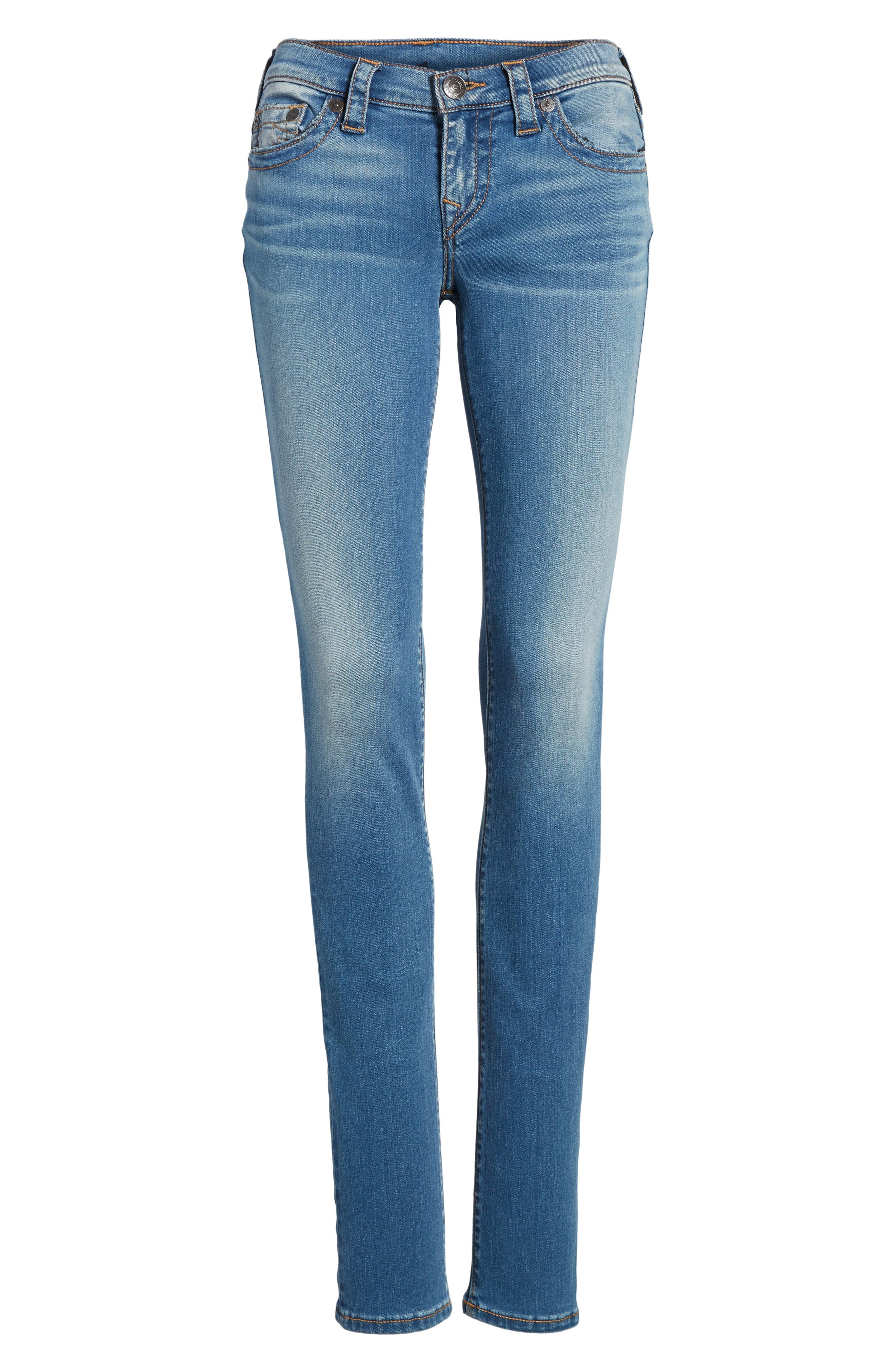 Stella Low Rise Skinny Jeans,                             Alternate thumbnail 6, color,                             Nu Authentic Indigo