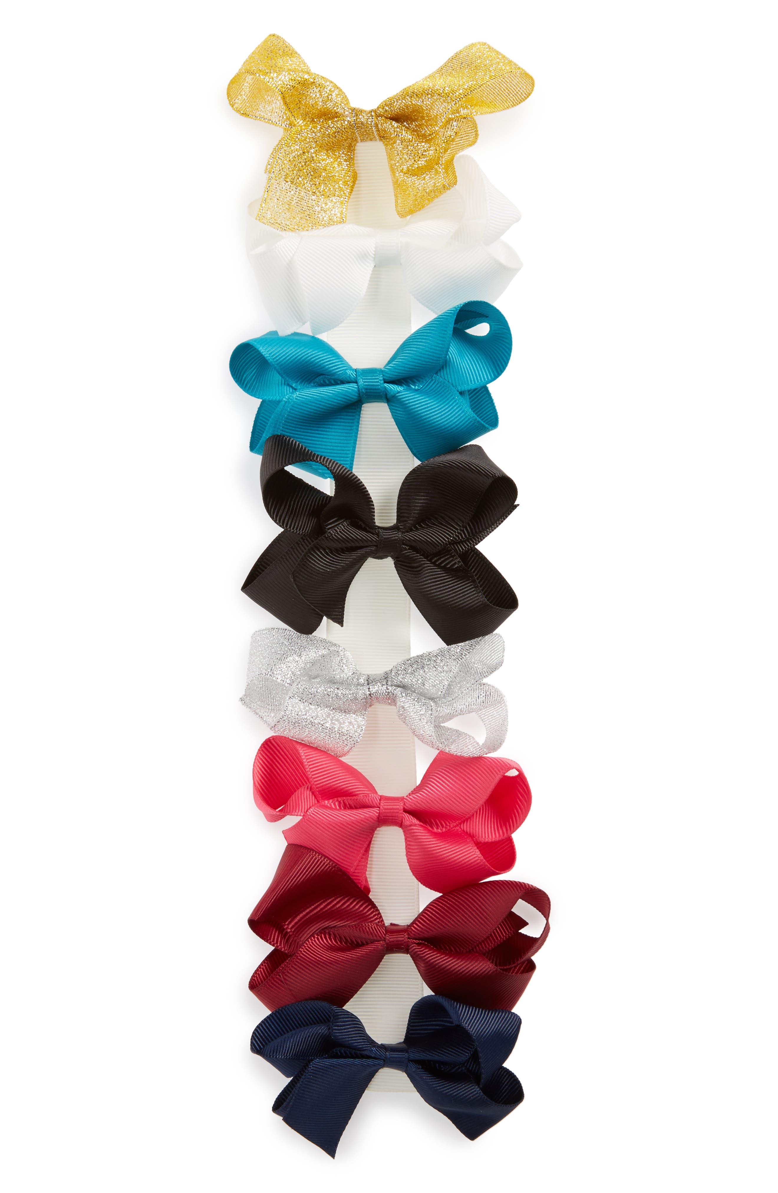 8-Piece Bow Clip Set,                         Main,                         color, Rainbow Multi
