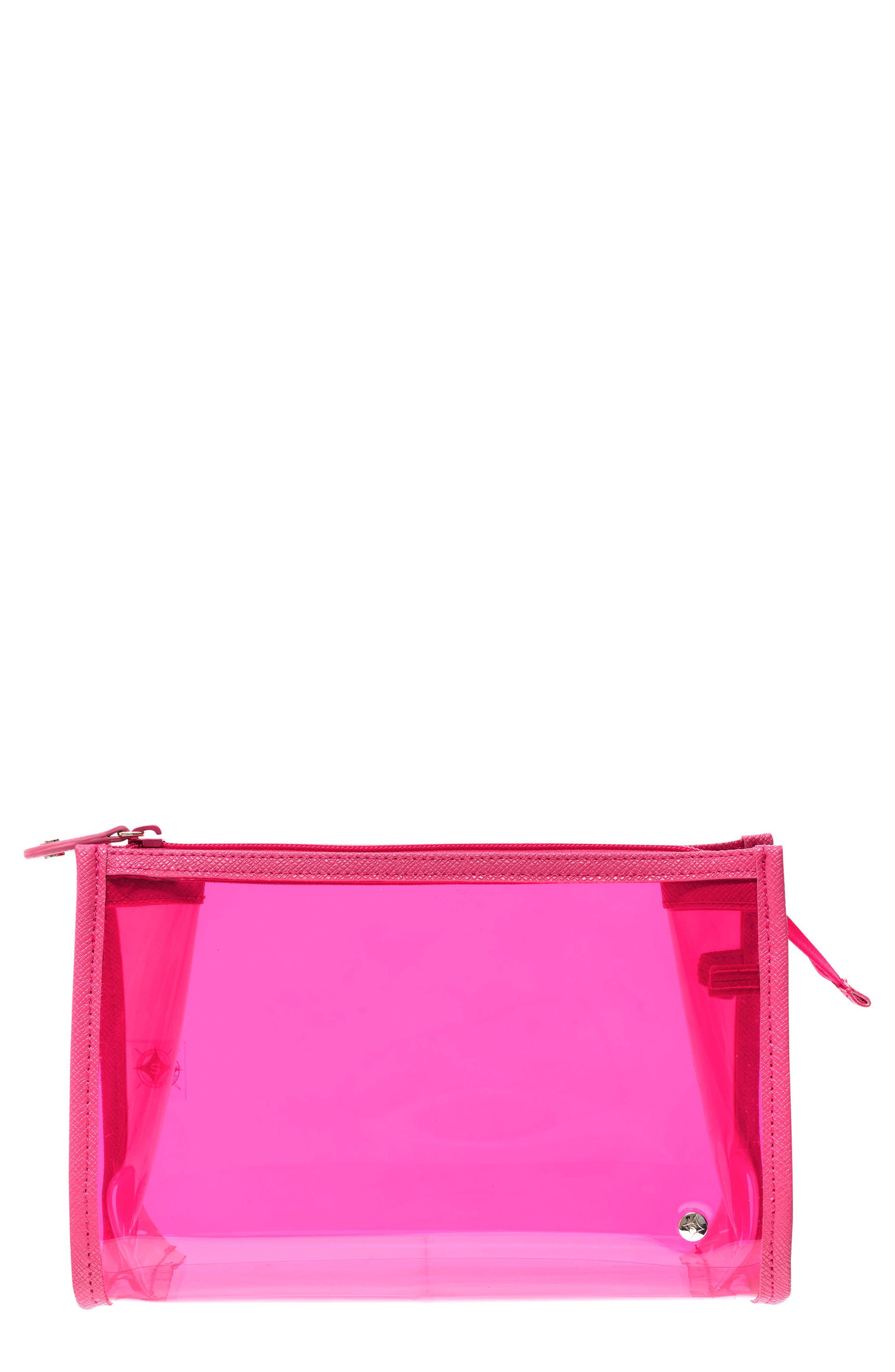 Miami Medium Zip Closure Cosmetics Case,                         Main,                         color, Miami Neon Pink