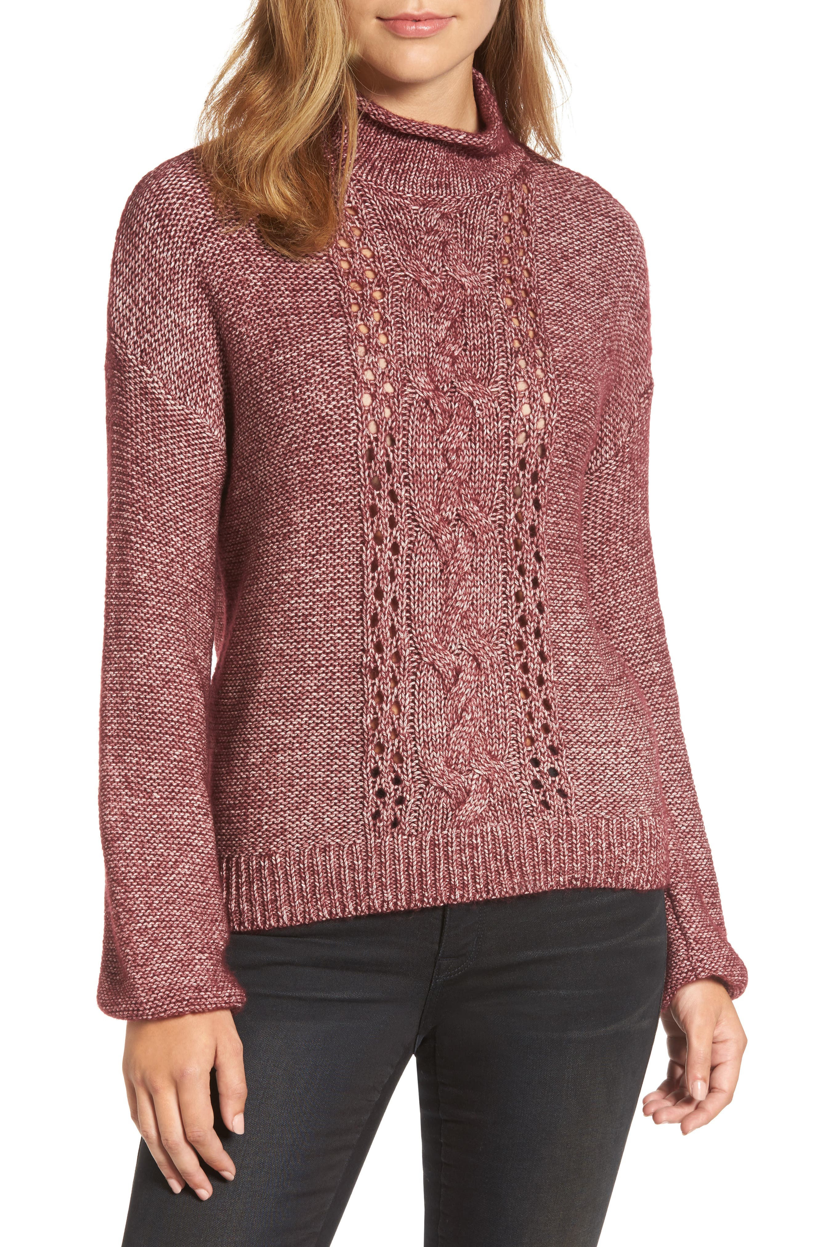 Open Cable Knit Funnel Neck Sweater,                             Main thumbnail 1, color,                             Burgundy