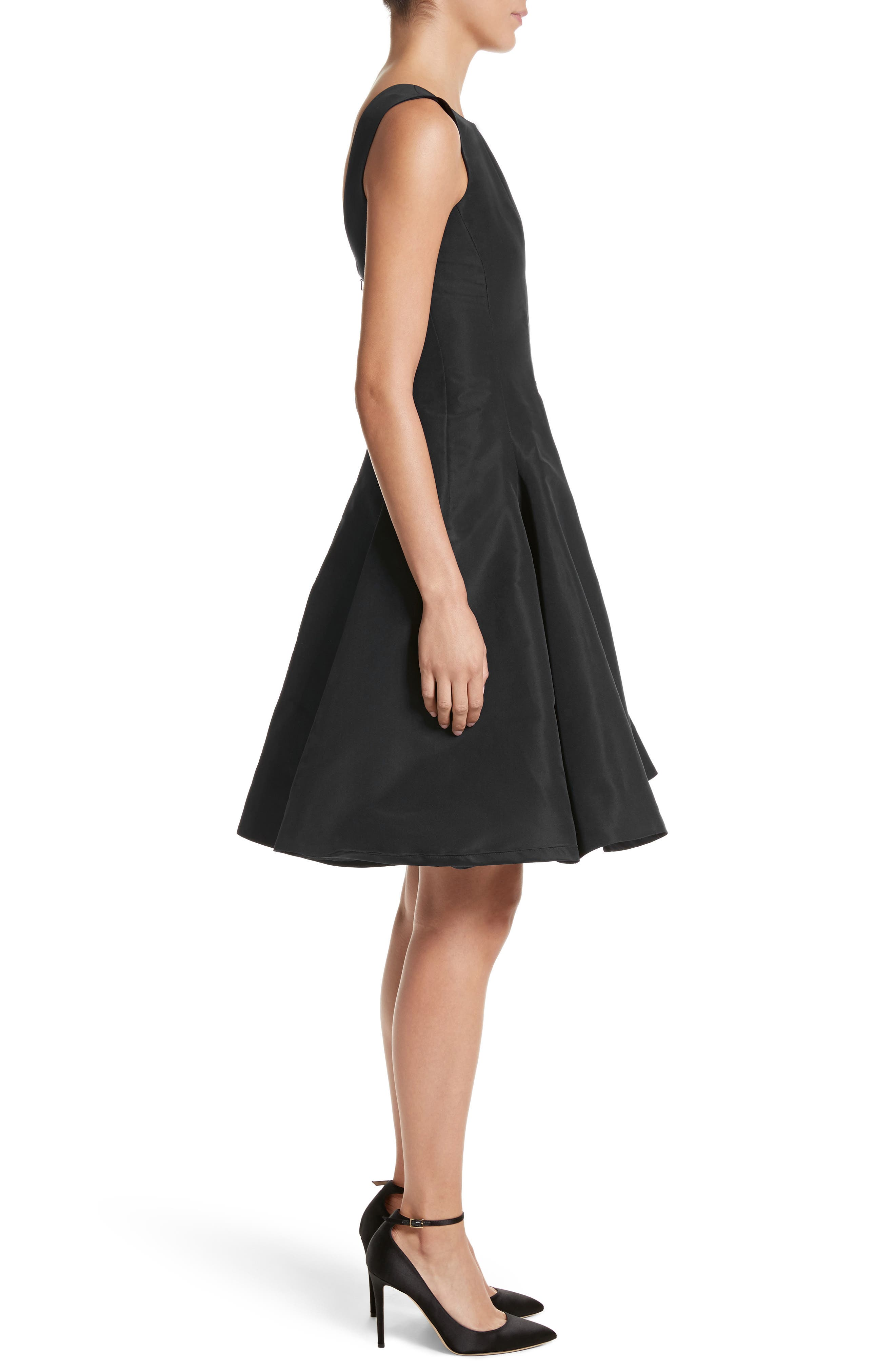 Scoop Back Pleat Silk Faille Dress,                             Alternate thumbnail 3, color,                             Black