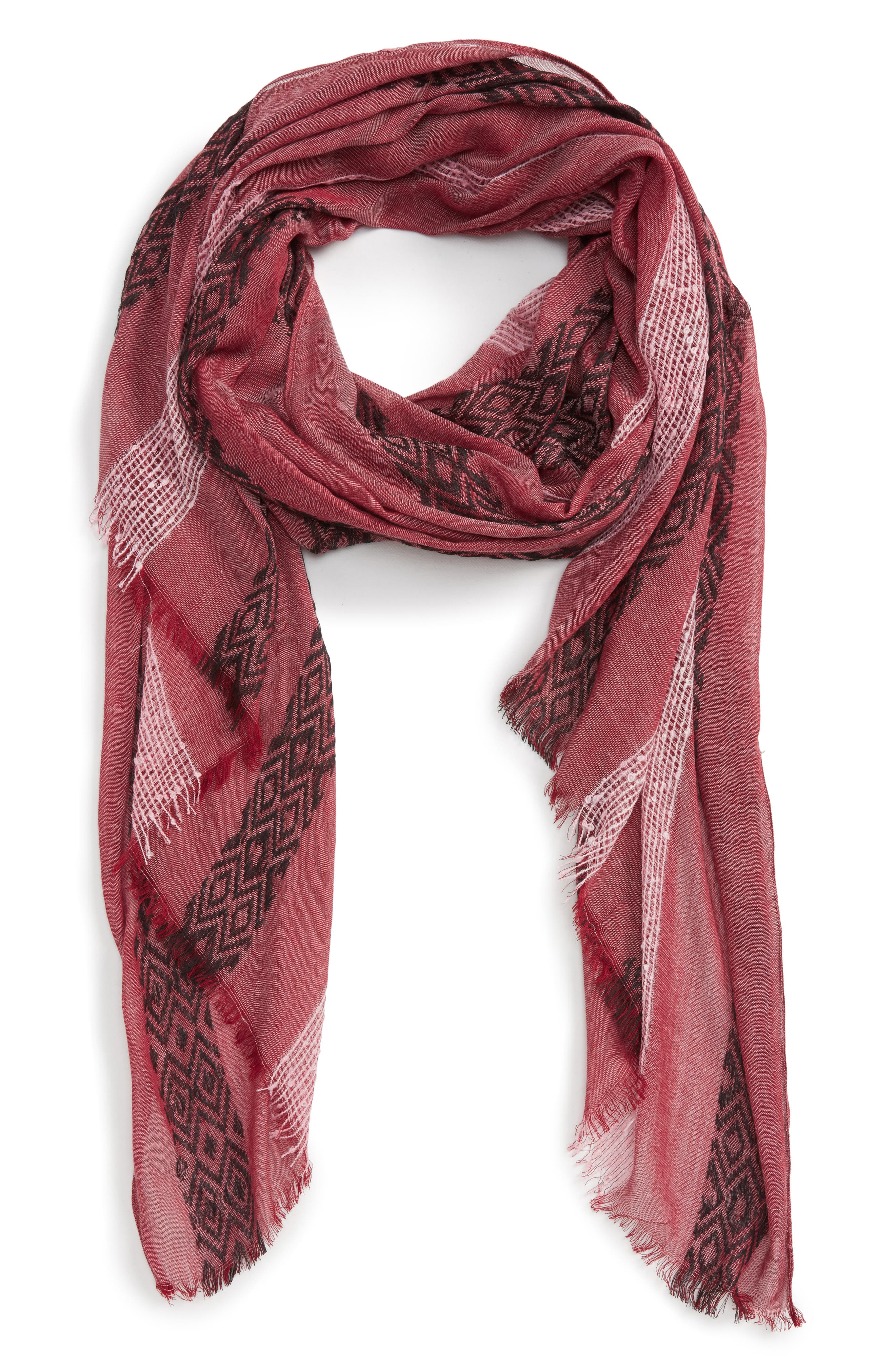 Stripe Knit Scarf,                             Main thumbnail 1, color,                             Berry