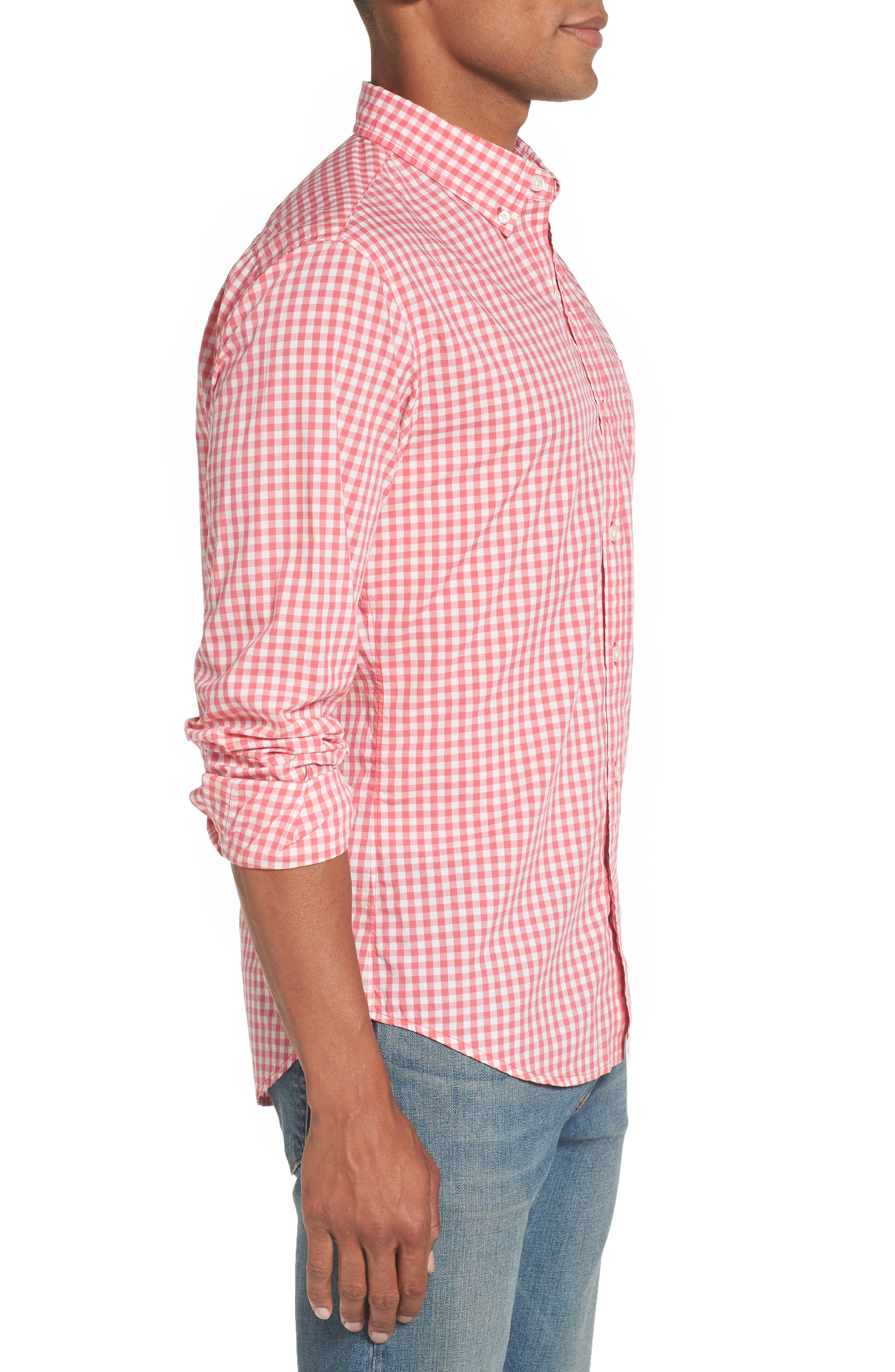 Slim Fit Summerweight Check Sport Shirt,                             Alternate thumbnail 3, color,                             Coral Ribbon Gingham