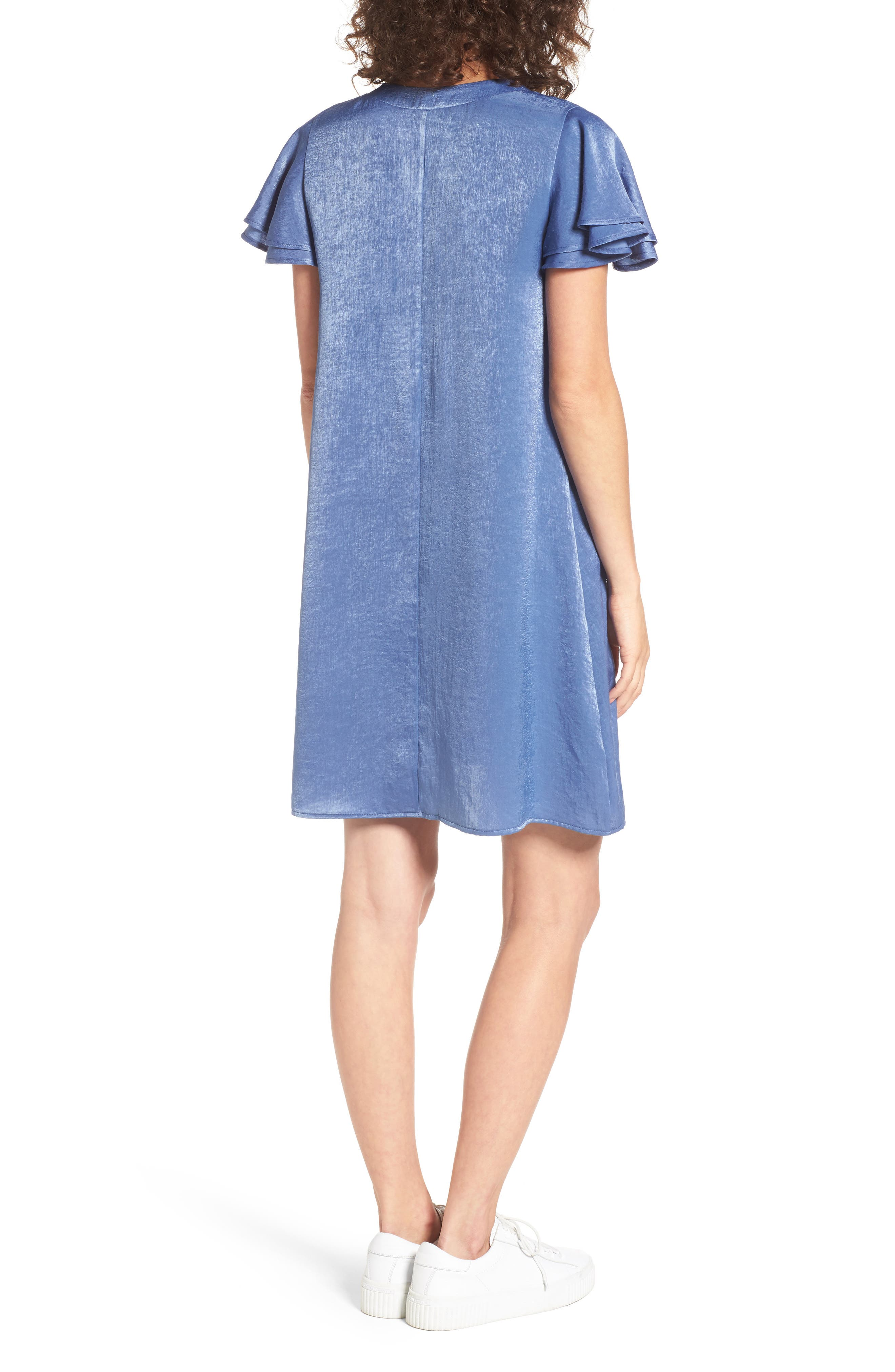 Lace-Up Shift Dress,                             Alternate thumbnail 2, color,                             Faded Denim