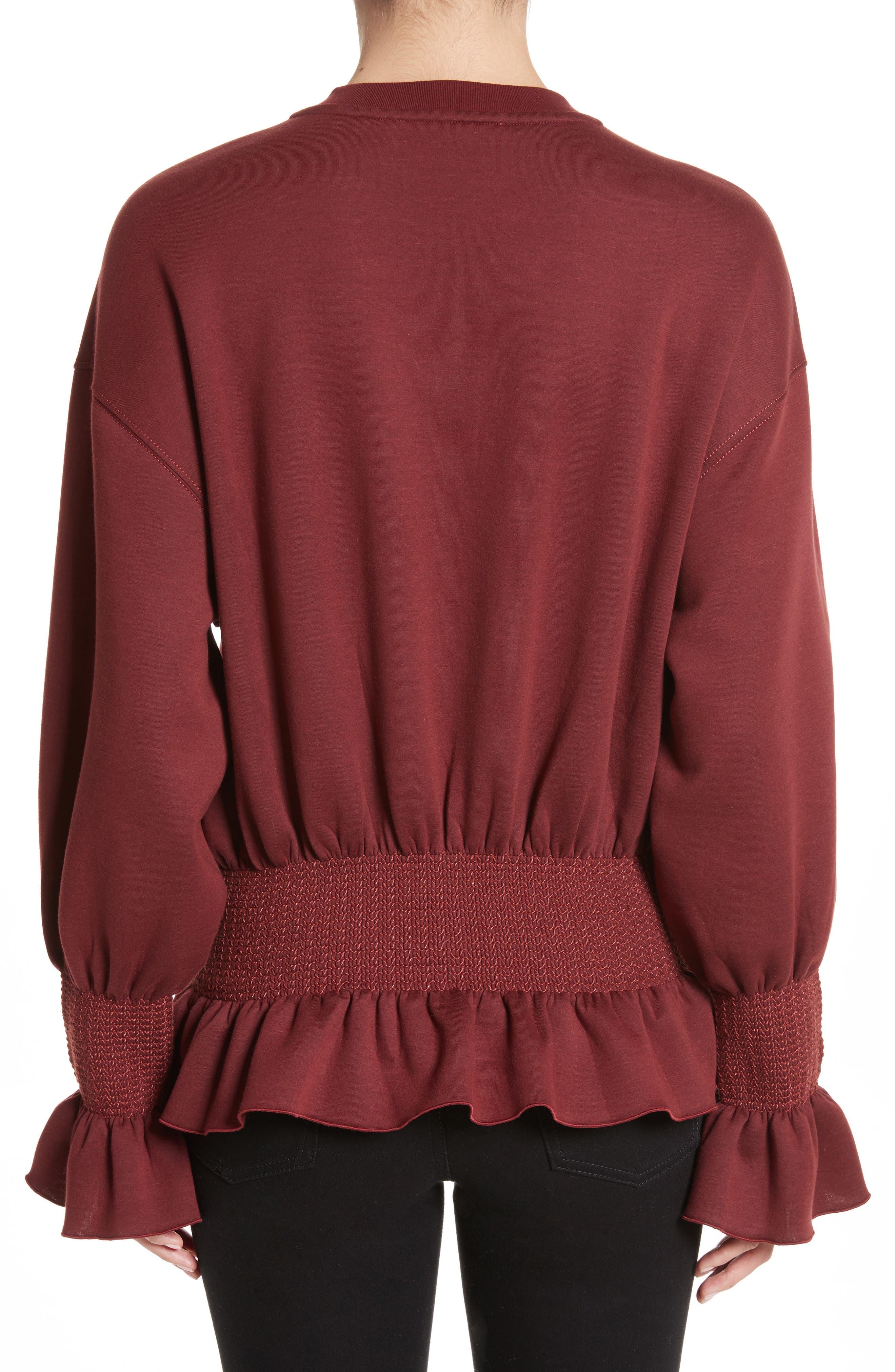 Ruched Ruffle Waist Sweatshirt,                             Alternate thumbnail 2, color,                             Dark Burgundy
