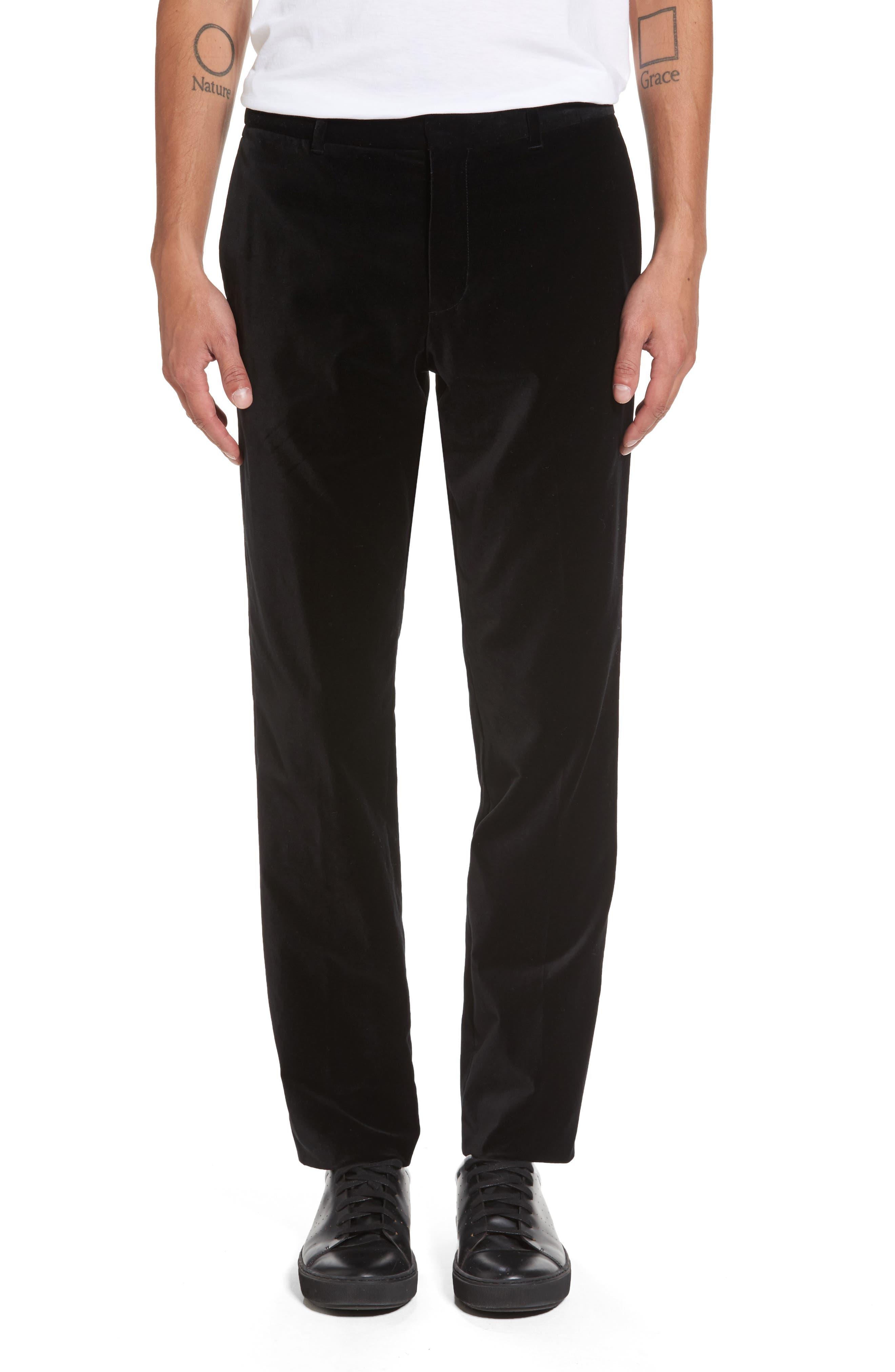 Velvet Trousers,                         Main,                         color, Black