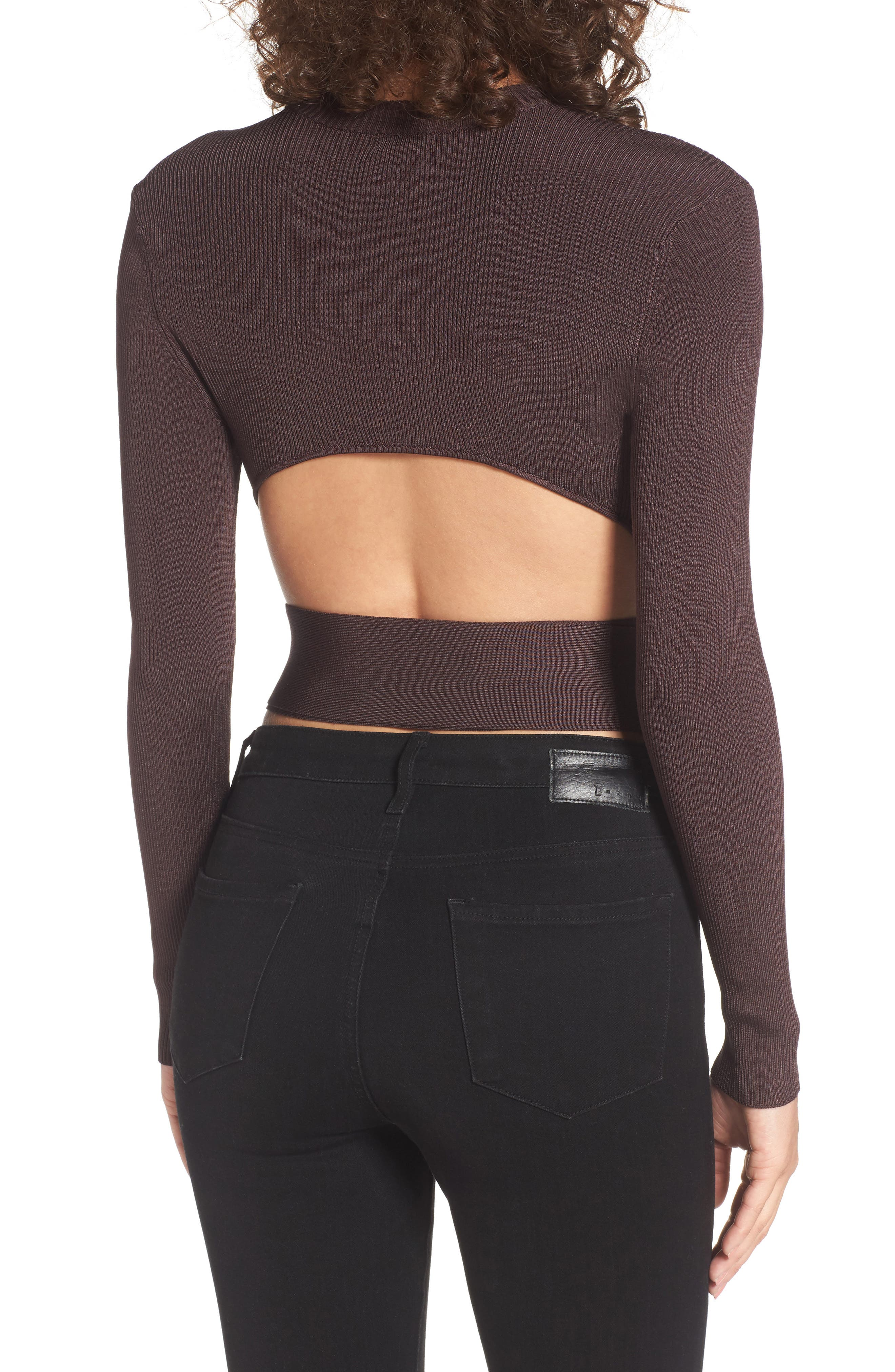 Desiree Cutout Ribbed Top,                             Alternate thumbnail 2, color,                             Deep Wine