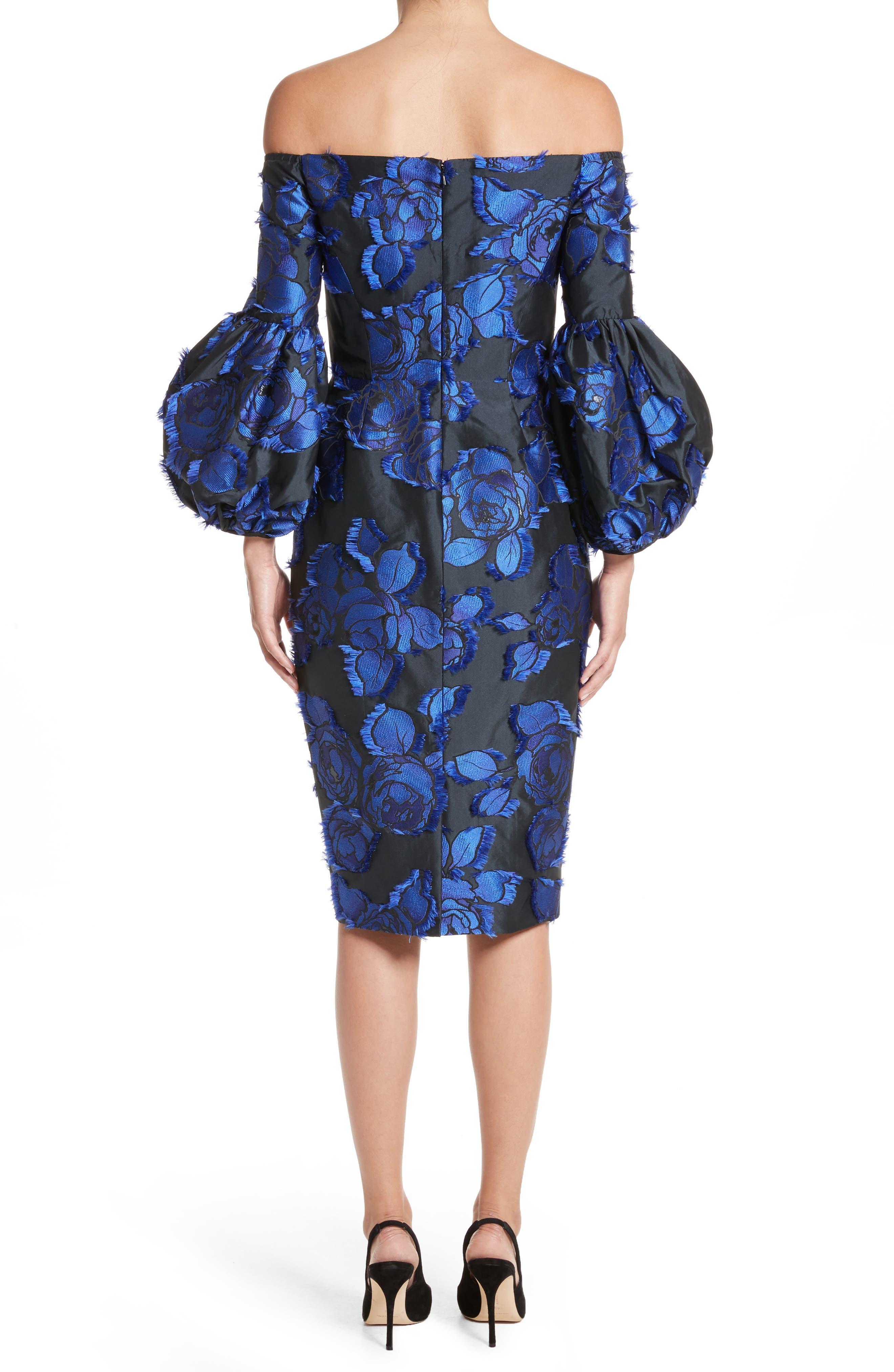 Fring Brocade Puff Sleeve Dress,                             Alternate thumbnail 2, color,                             Black/ Lapis