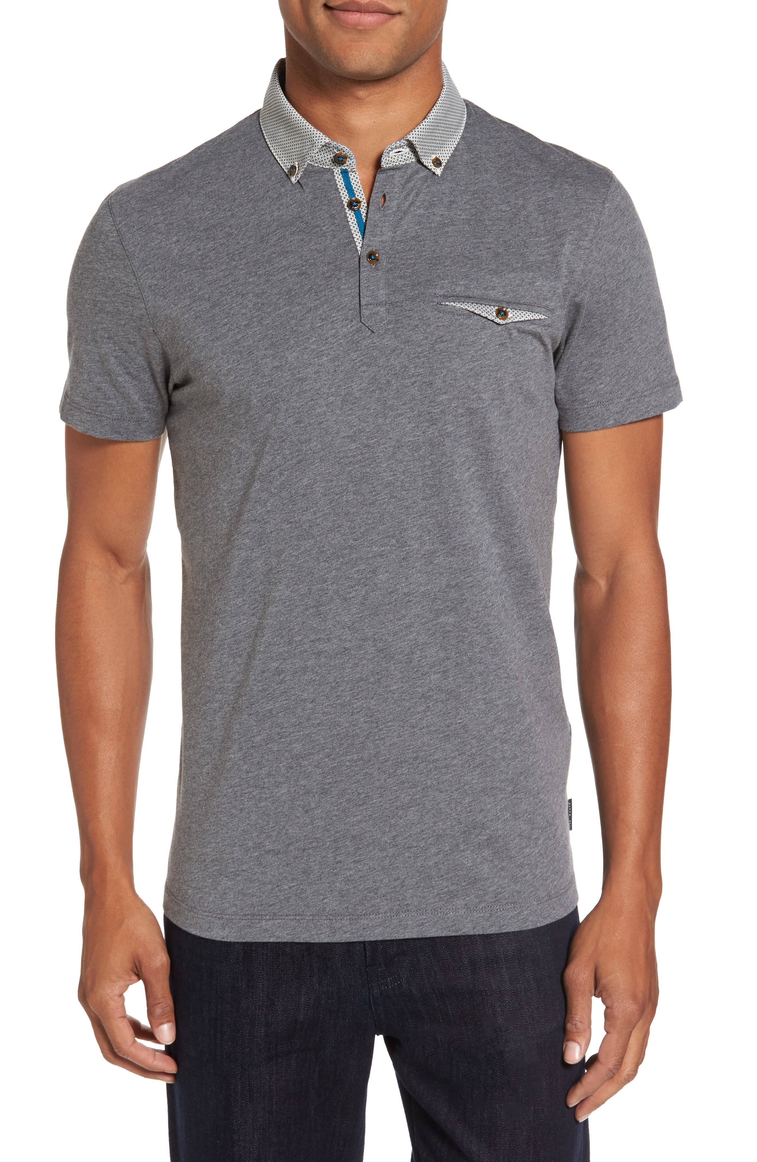 Alternate Image 1 Selected - Ted Baker London Woven Collar Polo