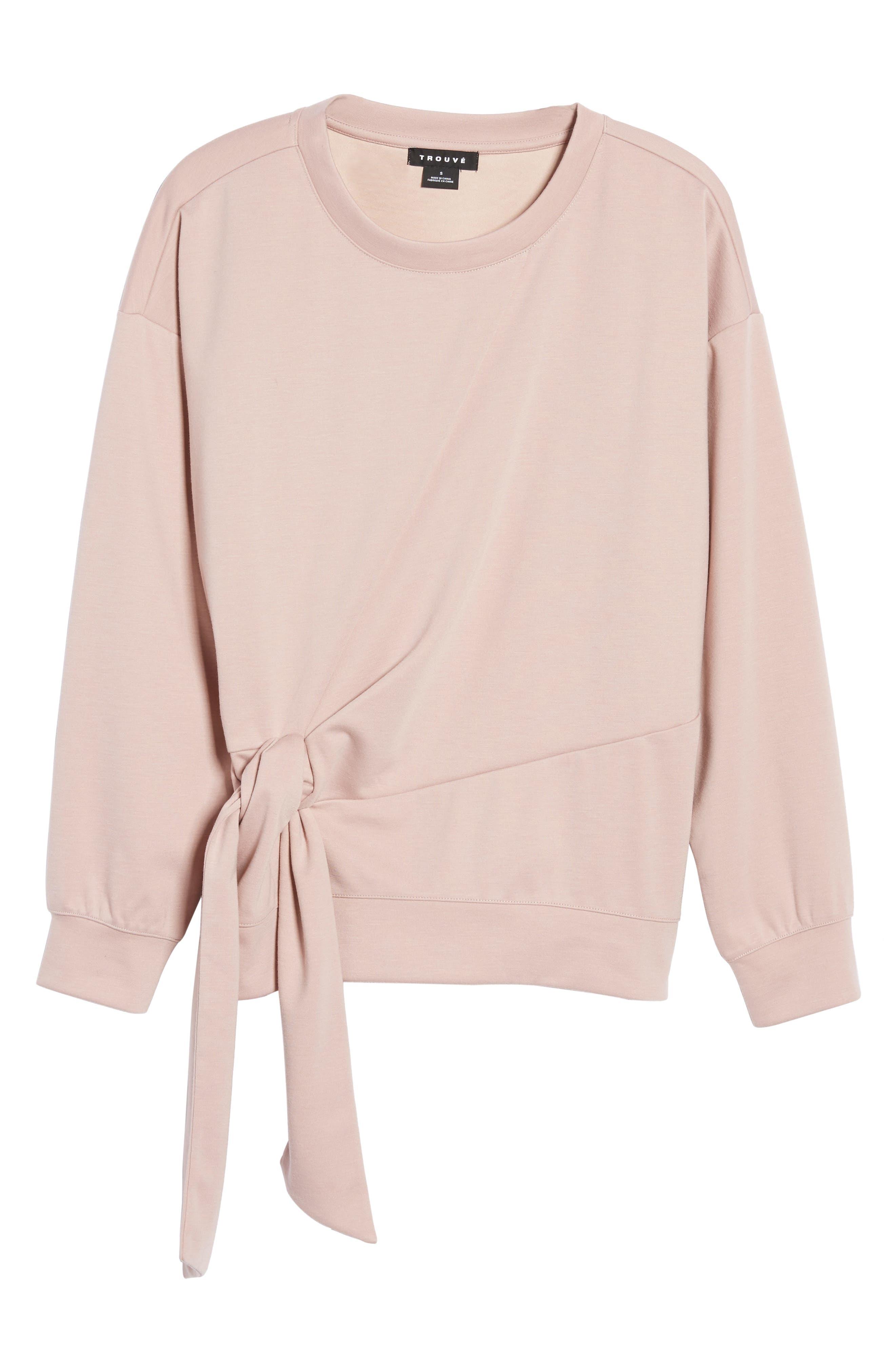 Tie Front Sweatshirt,                             Alternate thumbnail 6, color,                             Pink Adobe
