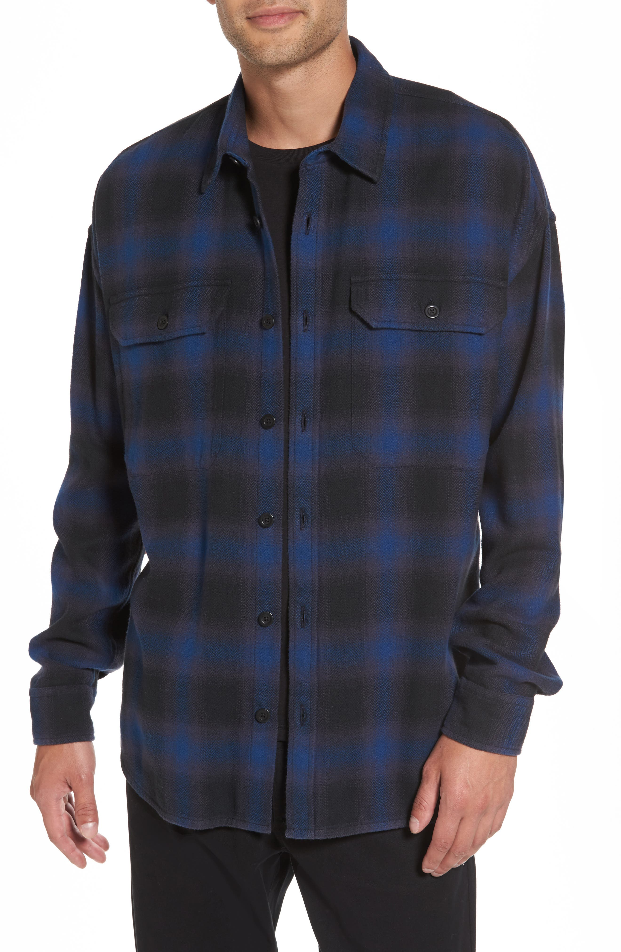 Vince Ombré Buffalo Plaid Sport Shirt