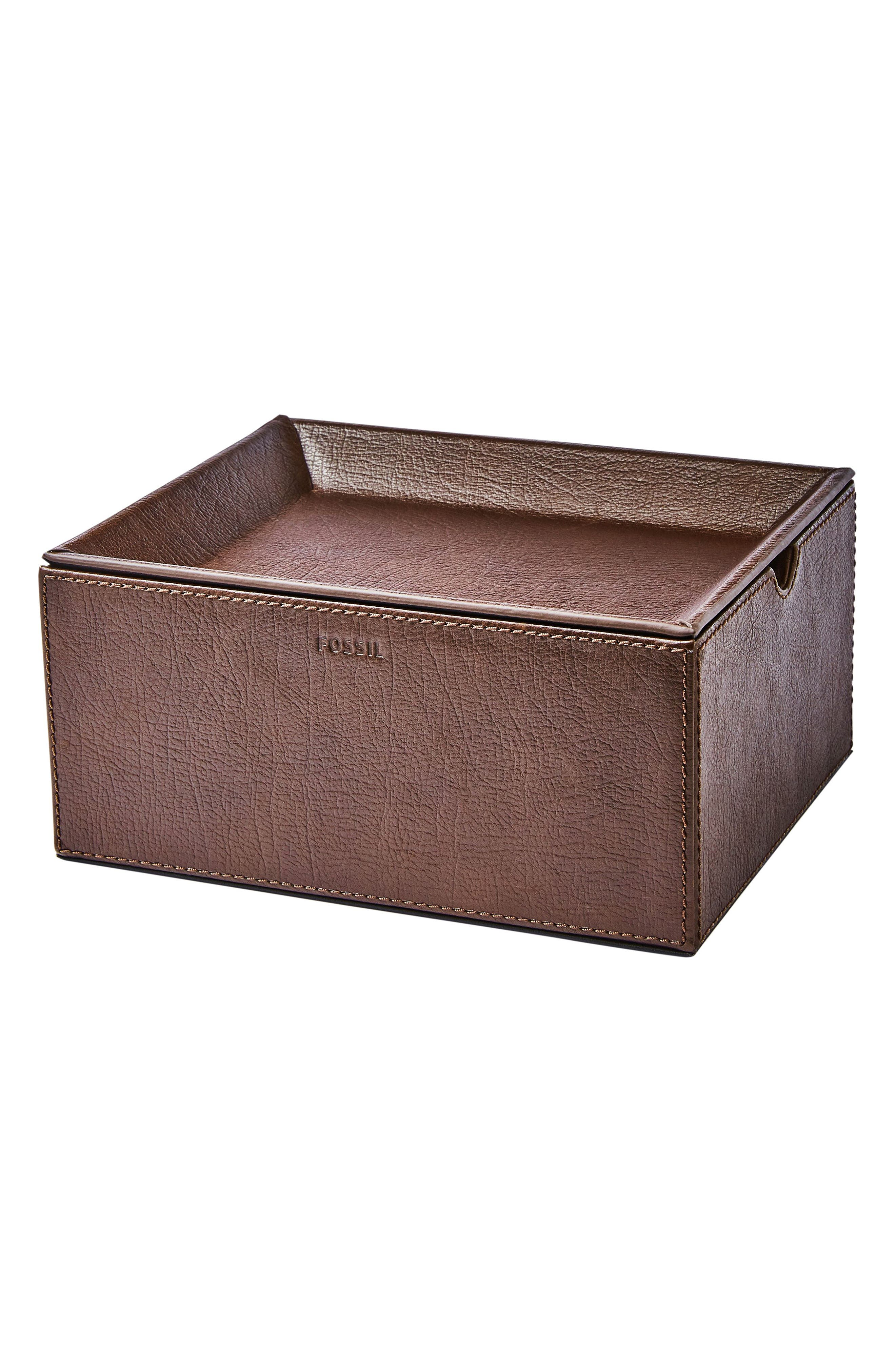 Fossil 5-Piece Leather Watch Box & Valet Tray