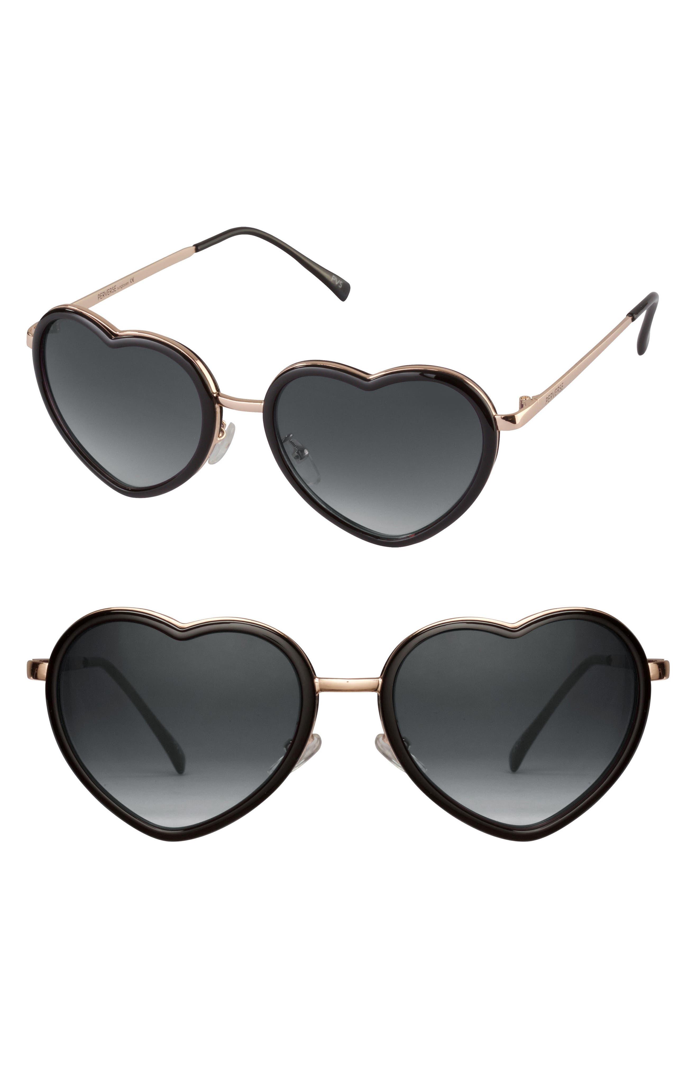 Poipu 52mm Heart Sunglasses,                             Main thumbnail 1, color,                             Black