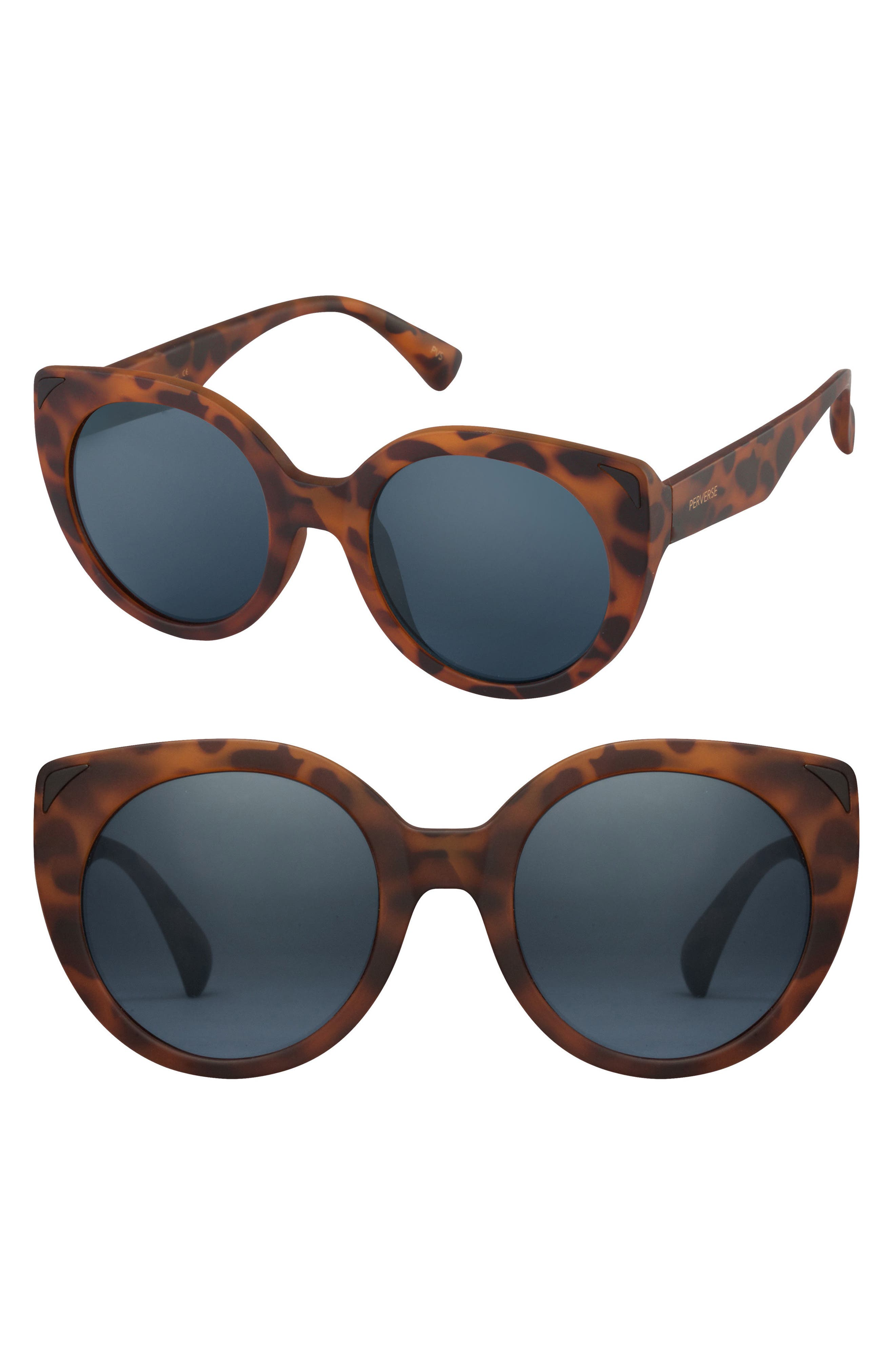 49mm Feline Round Cat Eye Sunglasses,                             Main thumbnail 1, color,                             Tortoise/ Black